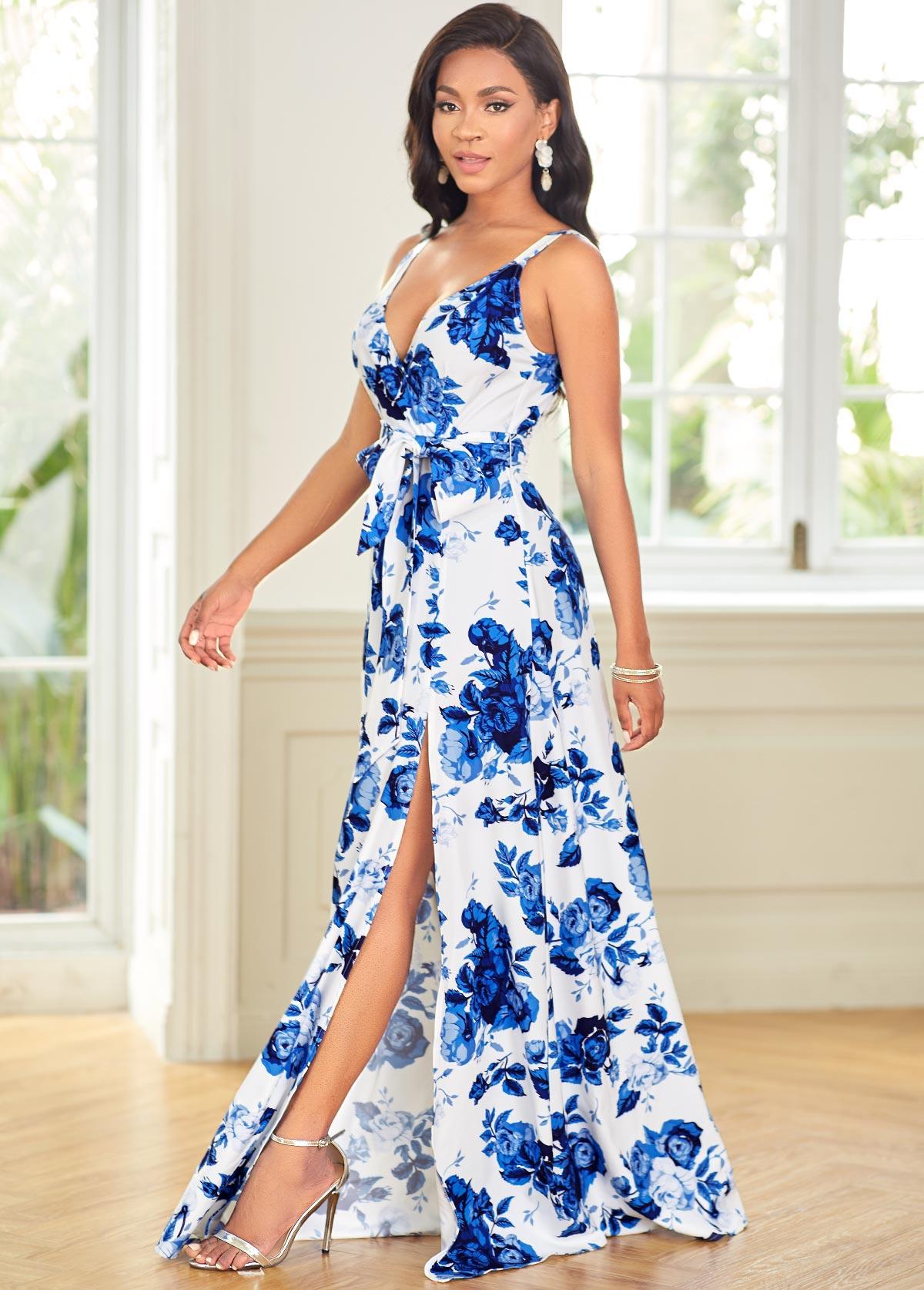 High Slit Spaghetti Strap Floral Print Dress