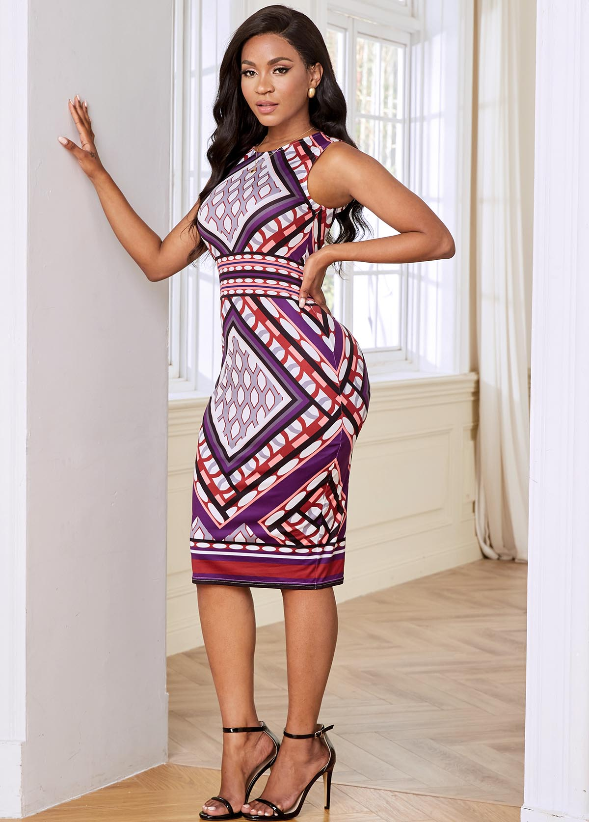Keyhole Back Geometric Print Sleeveless Dress