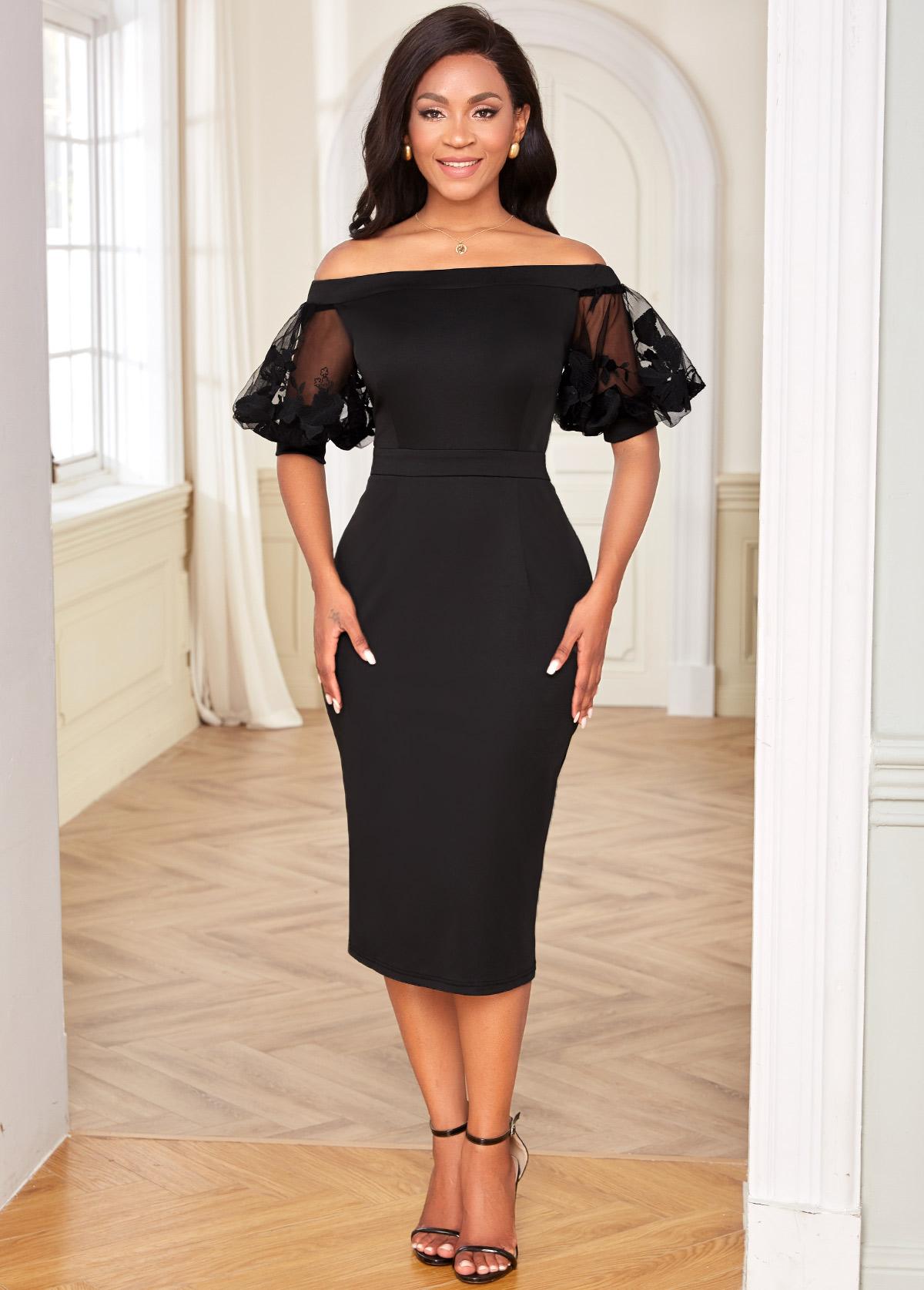 Half Sleeve Off Shoulder Mesh Stitching Dress