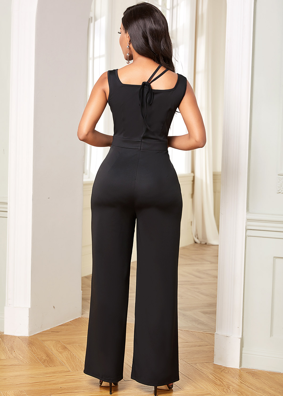 Sleeveless Tie Back Solid Straight Jumpsuit
