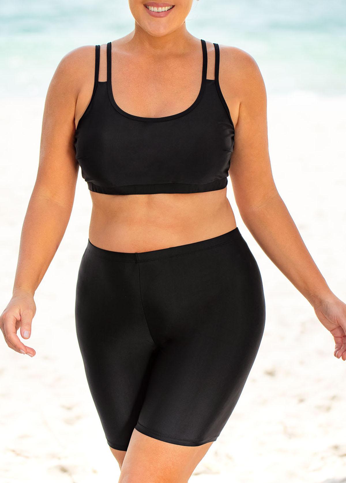 Solid High Waisted Plus Size Bikini Set