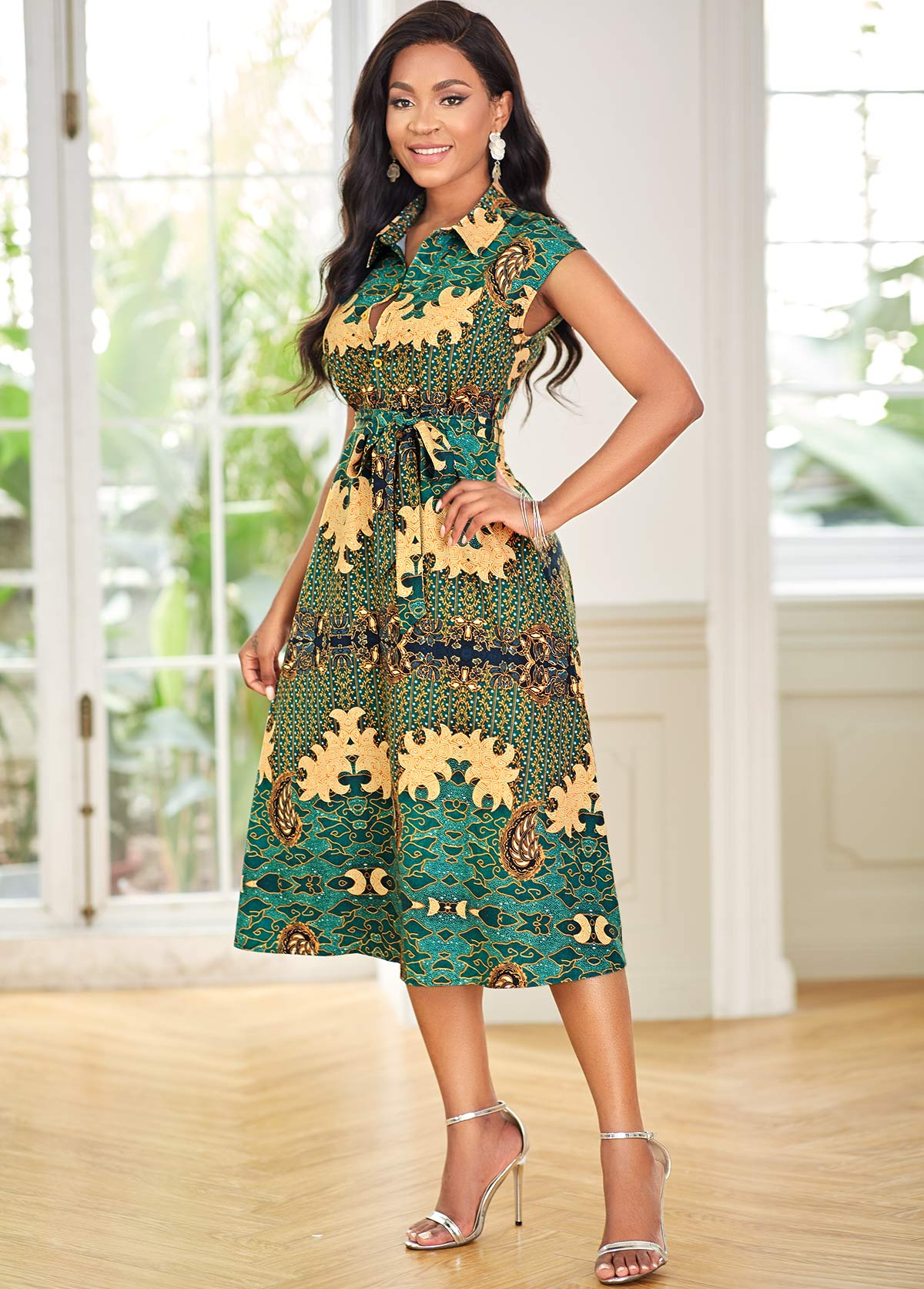 Belted Paisley Print Turndown Collar Dress