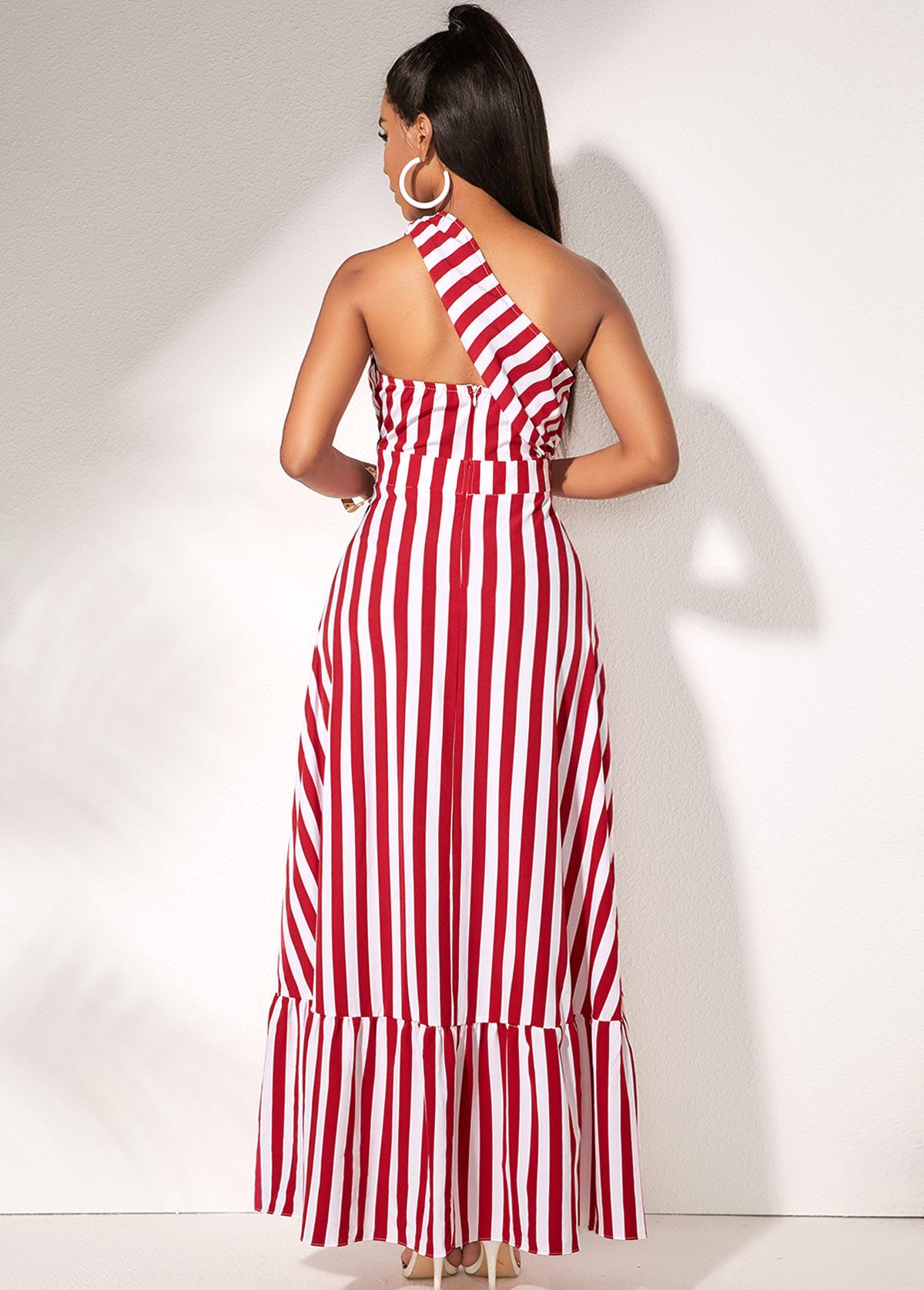 Sleeveless One Shoulder Striped Maxi Dress