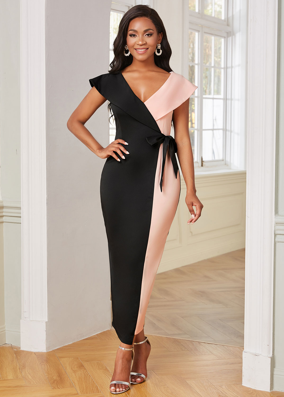 Side Back V Neck Color Block Bodycon Dress
