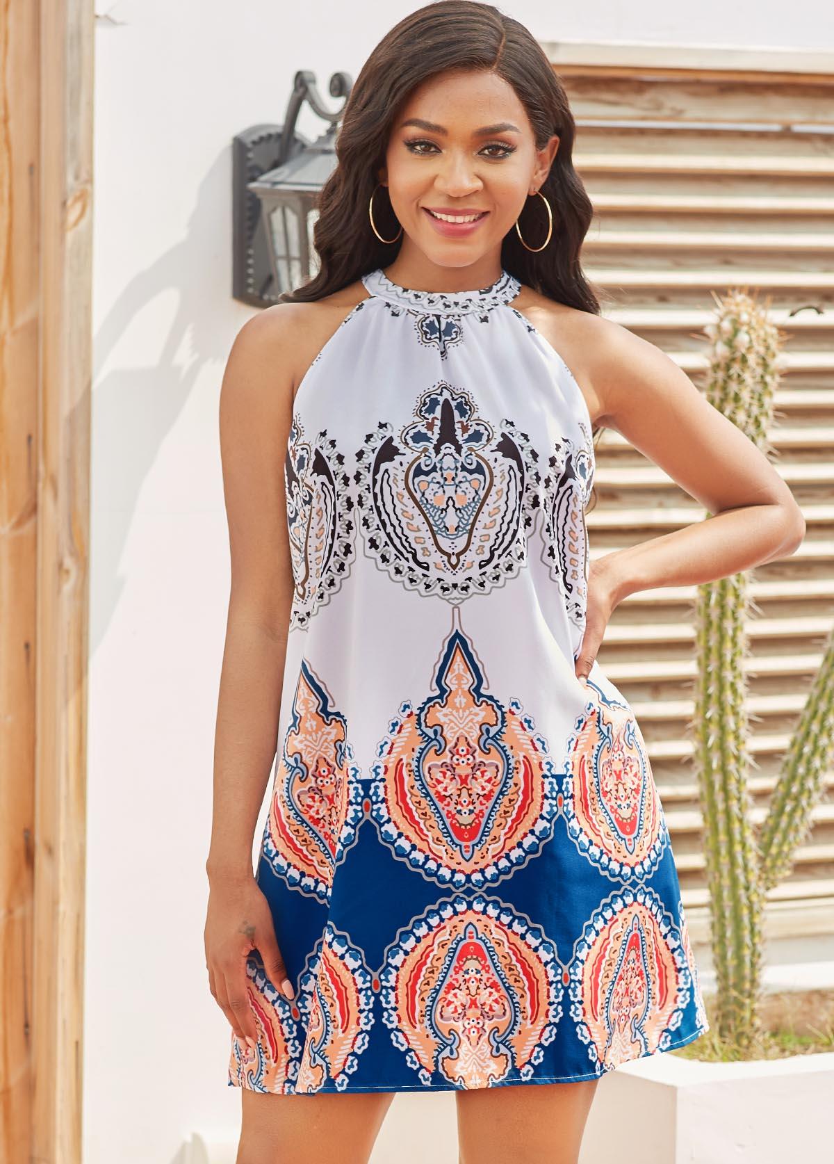 Sleeveless Tribal Print Tie Back Dress