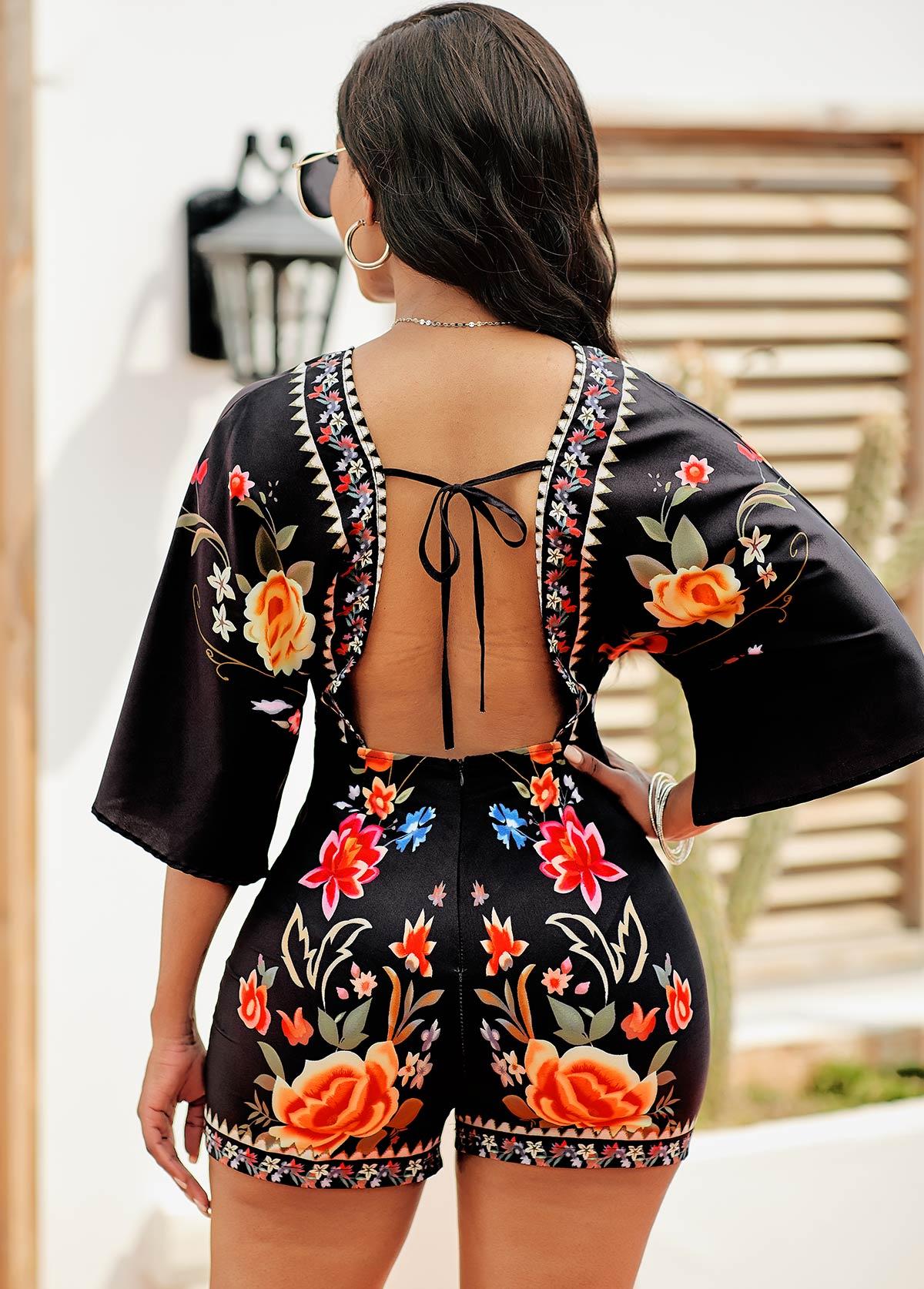 Tie Back V Neck Floral Print Romper