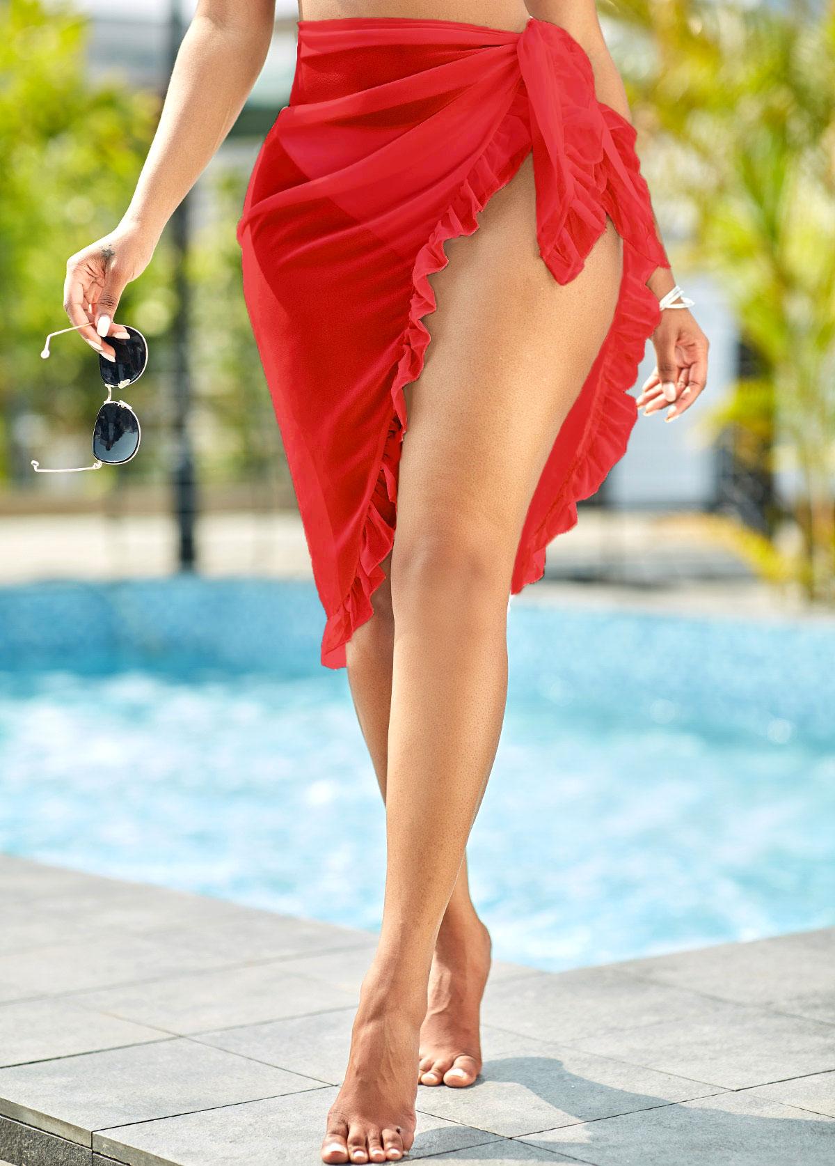 Tie Side Ruffle Hem Chiffon Solid Beach Skirt