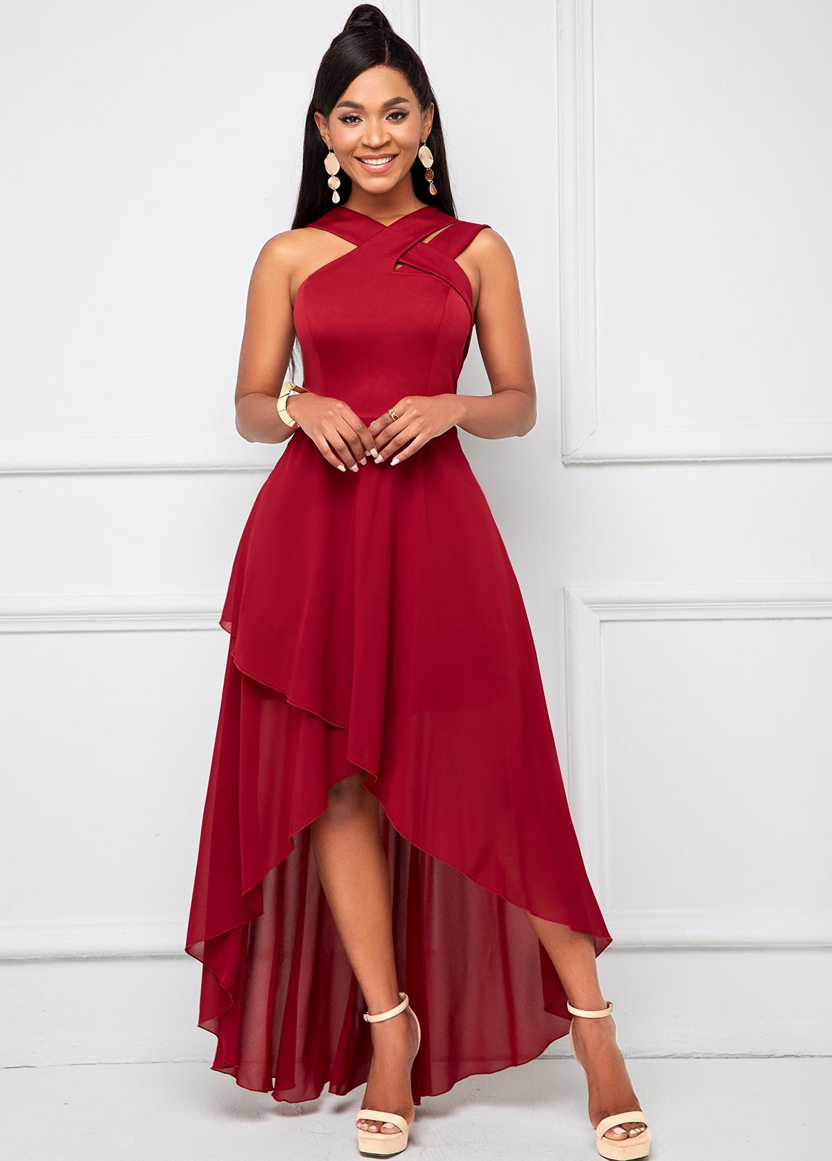 Sleeveless Dip Hem Cross Strap Maxi Dress