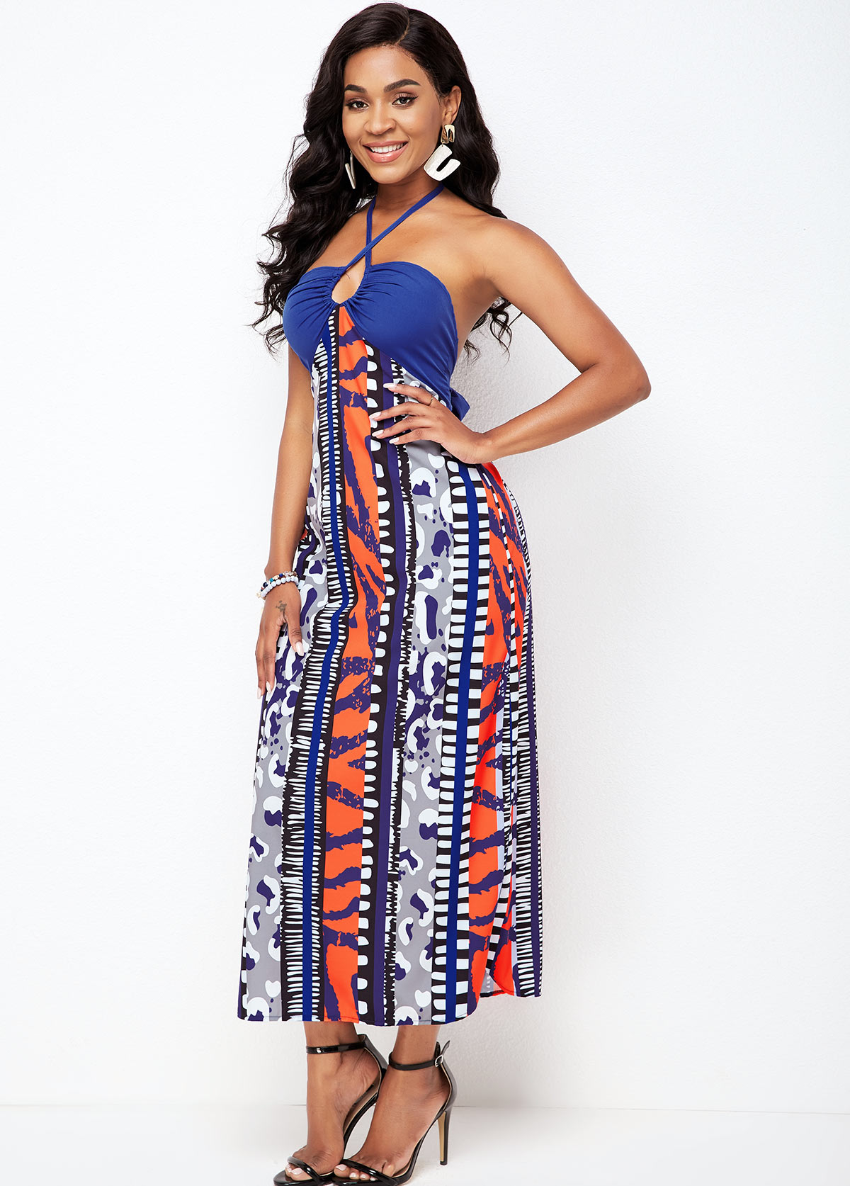 Tie Back Cross Halter Tribal Print Dress
