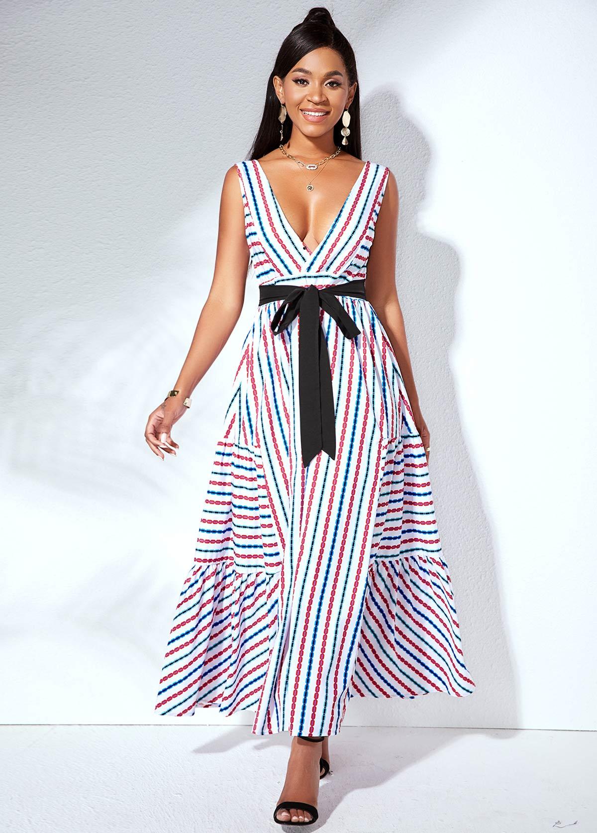 Belted V Back Strip Print Swing Dress