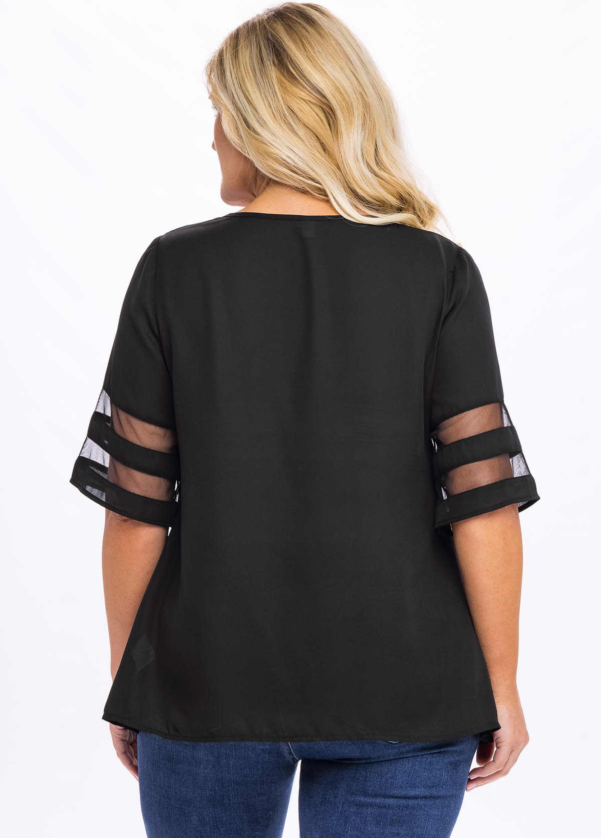 V Neck Plus Size Mesh Stitching T Shirt