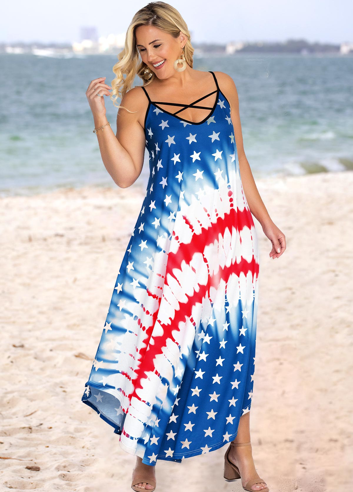 Spaghetti Strap Plus Size American Flag Print Dress