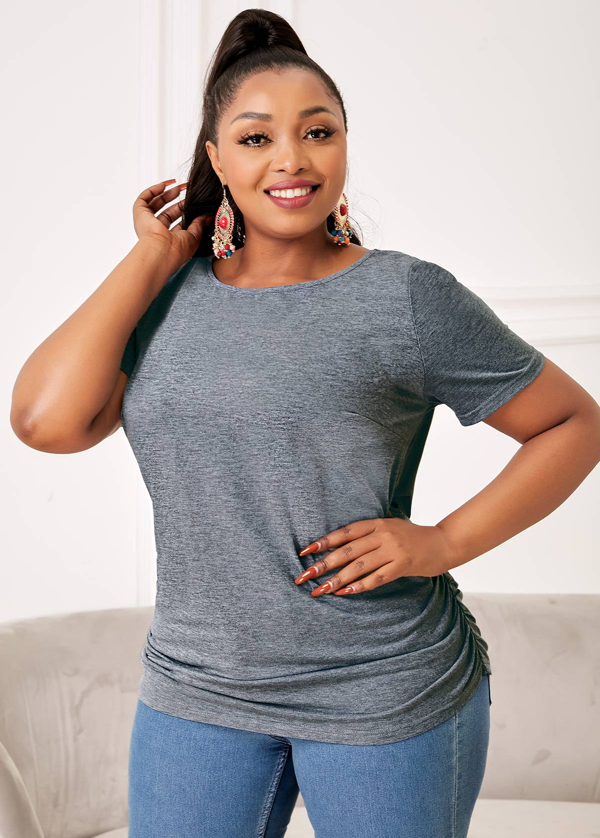 Solid Plus Size Round Neck T Shirt