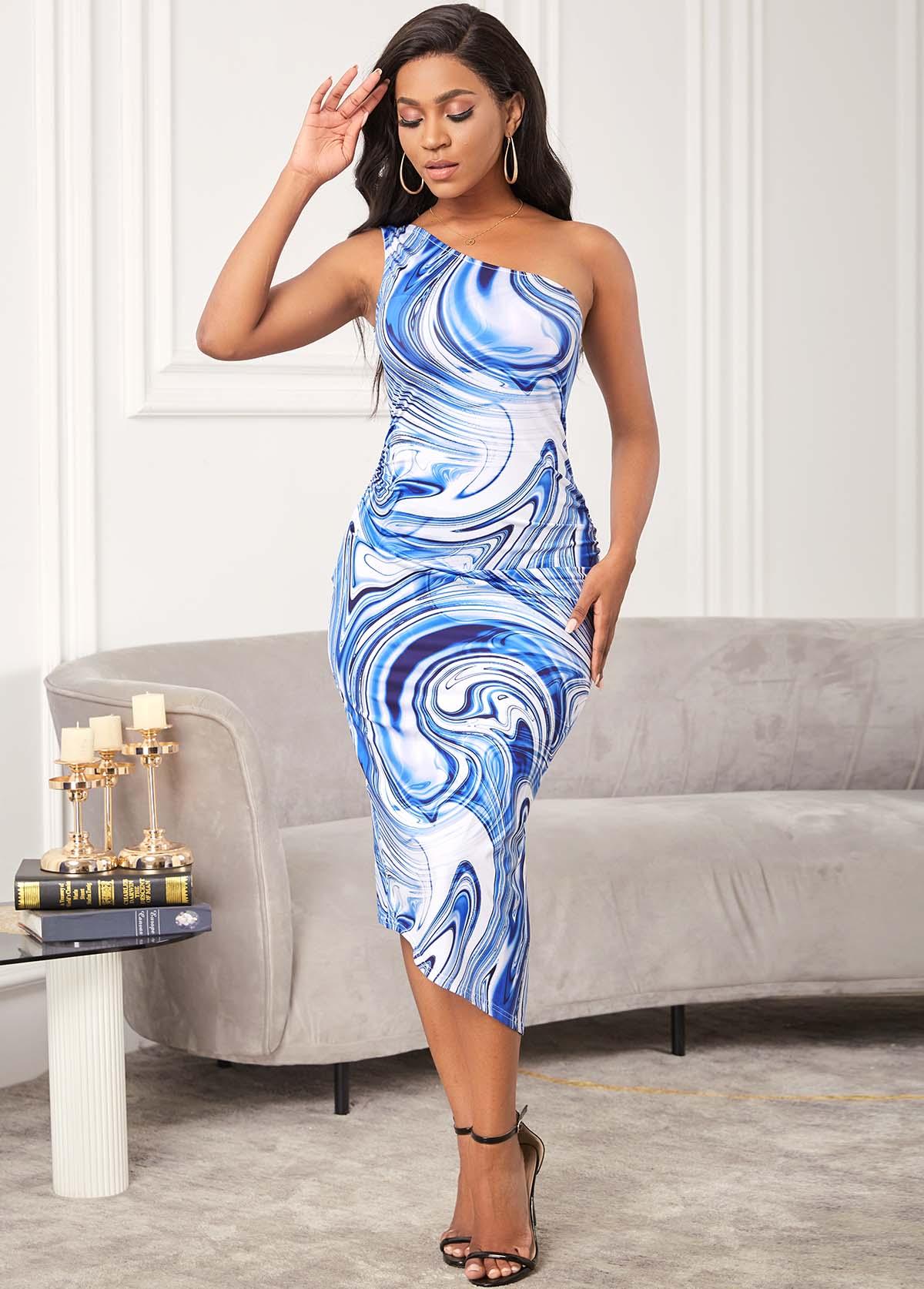Skew Neck One Shoulder Printed Bodycon Dress