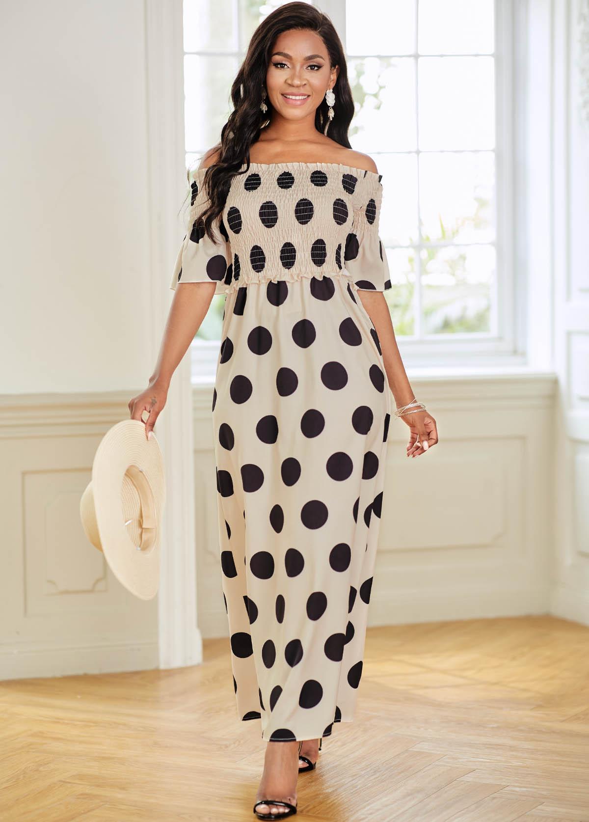 Shirred Polka Dot Off Shoulder Dress