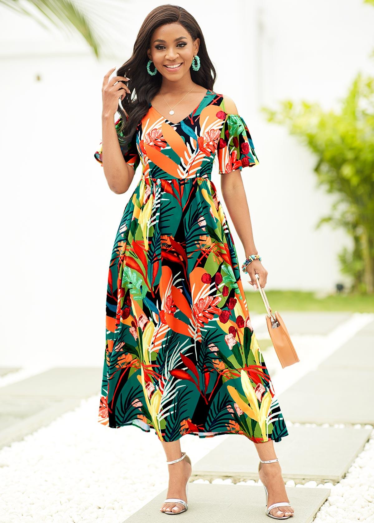 V Neck Tropical Print Cold Shoulder Dress