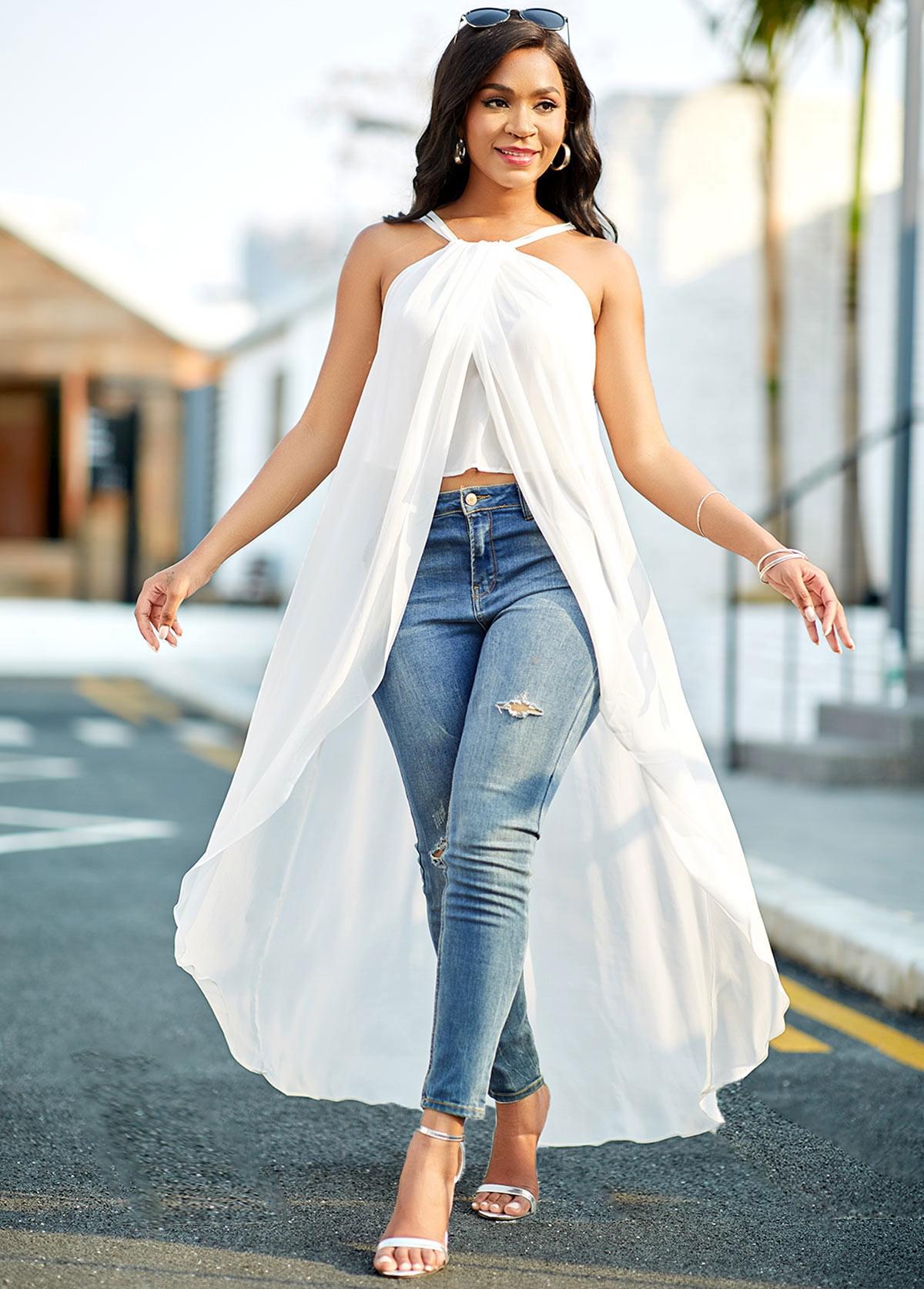 Cross Strap Chiffon Asymmetric Hem White Blouse