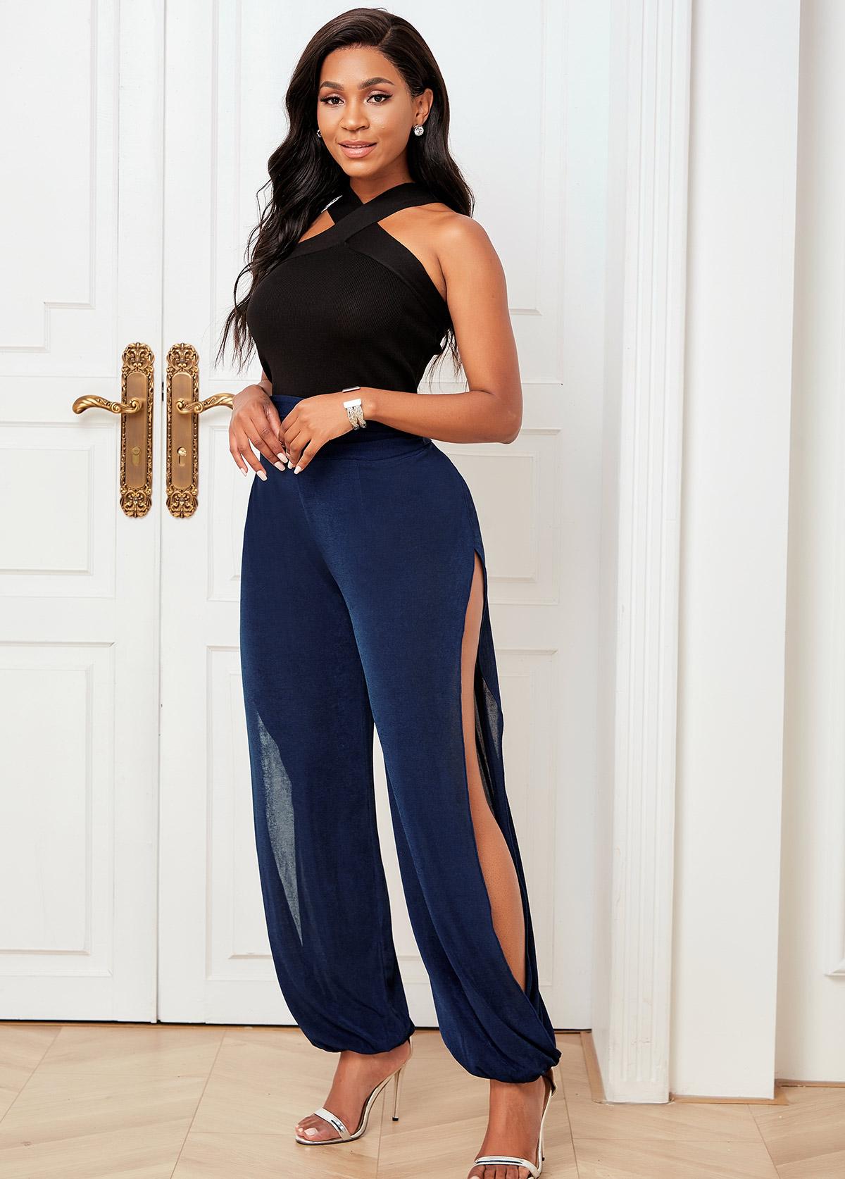 Solid High Waisted Cutout Leg Pants