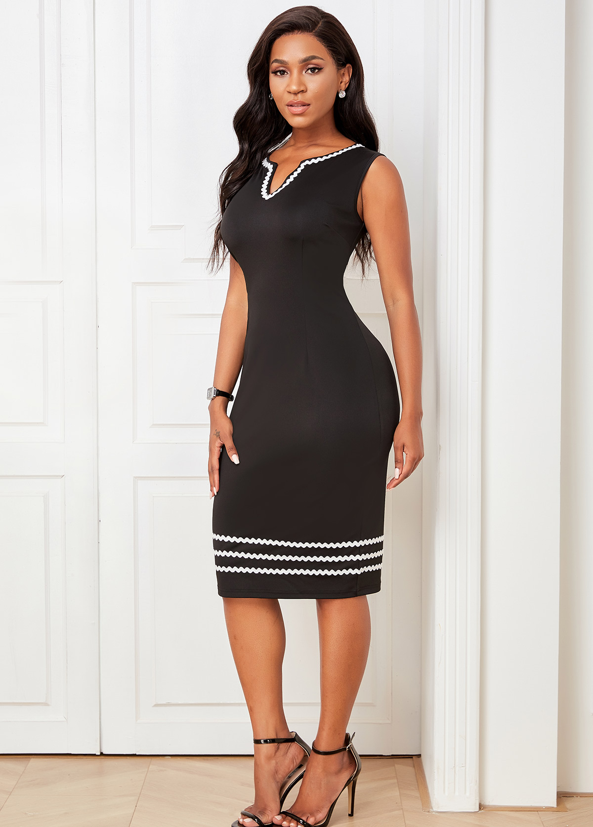 Striped Split Neck Sleeveless Bodycon Dress