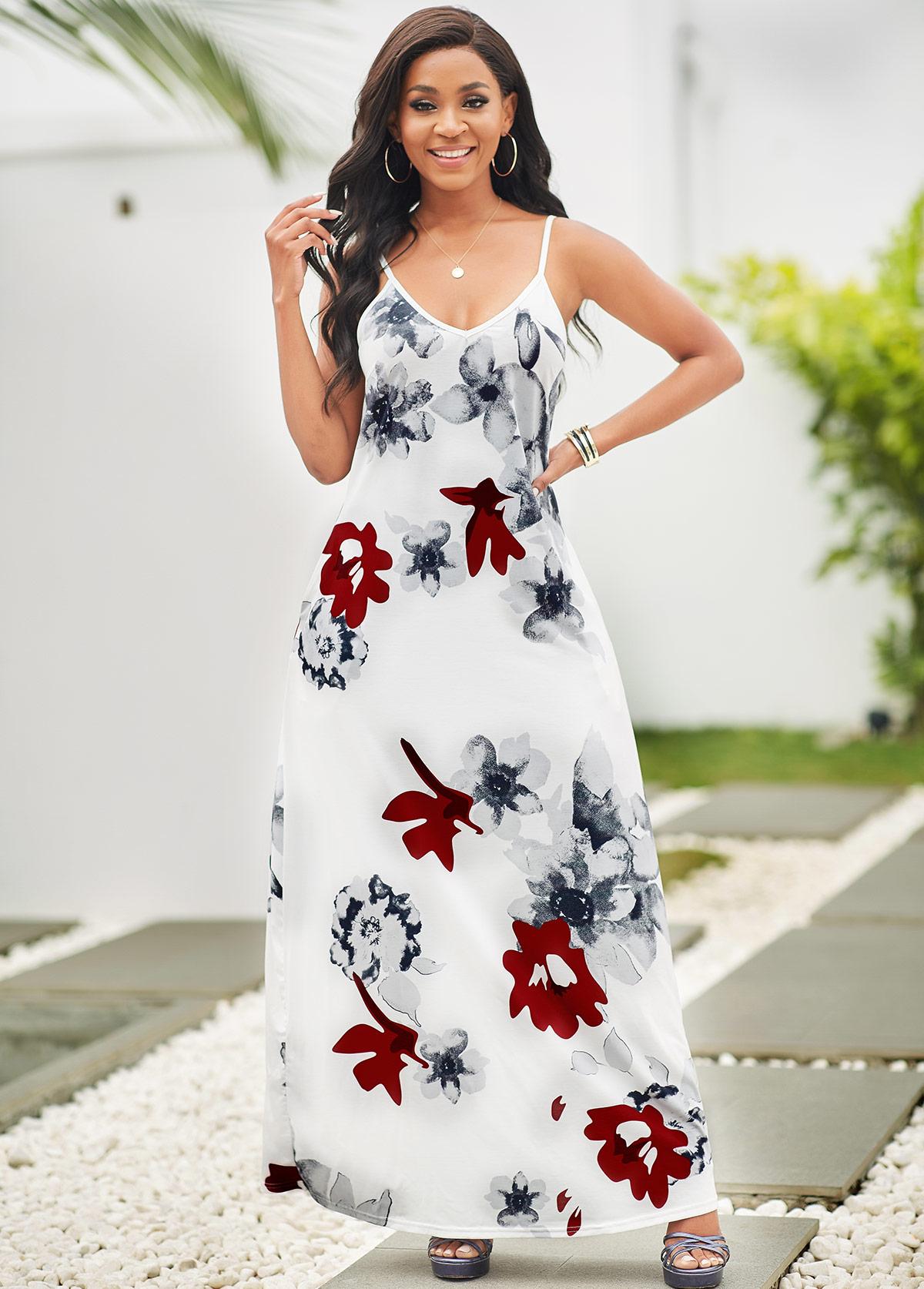 Spaghetti Strap Floral Print Pocket Maxi Dress
