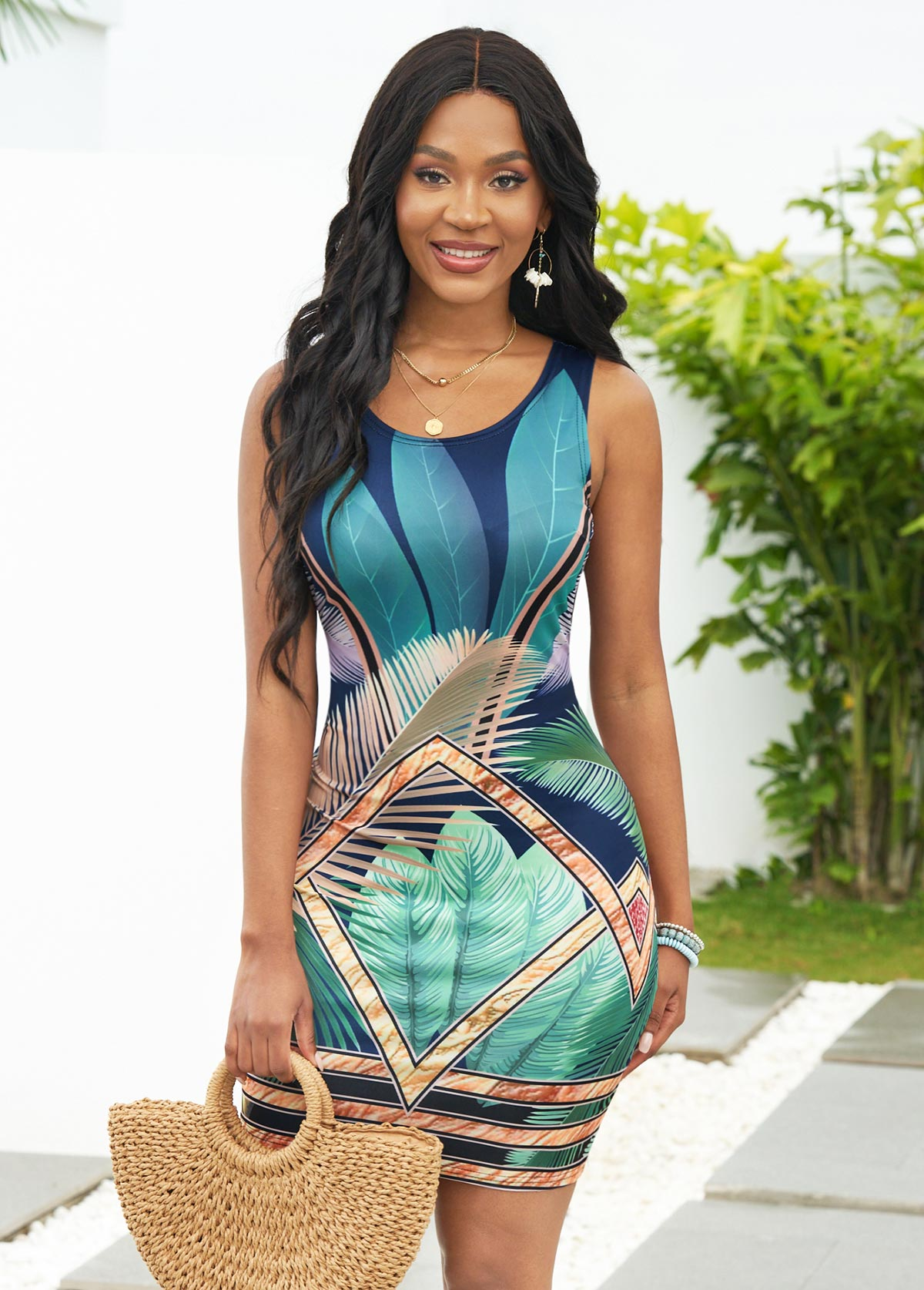 Tropical and Feathers Print Wide Strap Dress