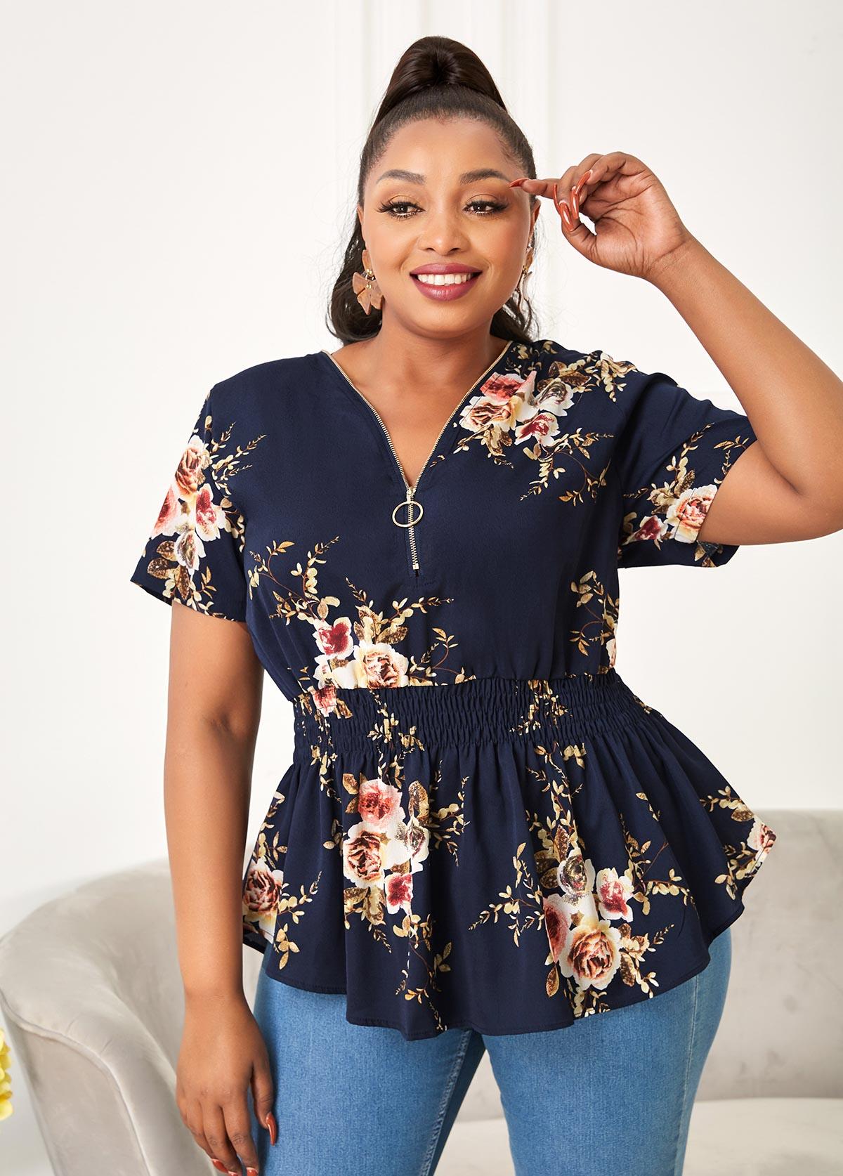 Smocked Plus Size Floral Print T Shirt