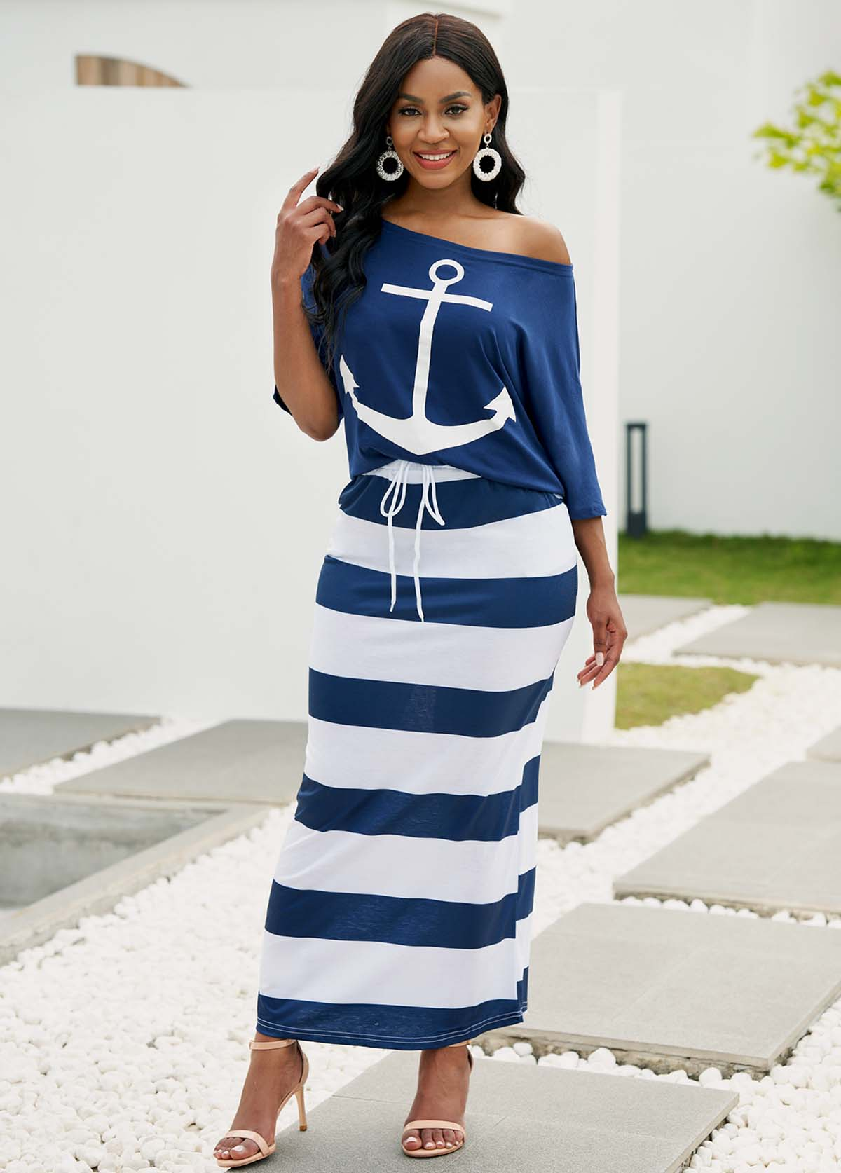 Skew Neck T Shirt and Striped Drawstring Waist Skirt