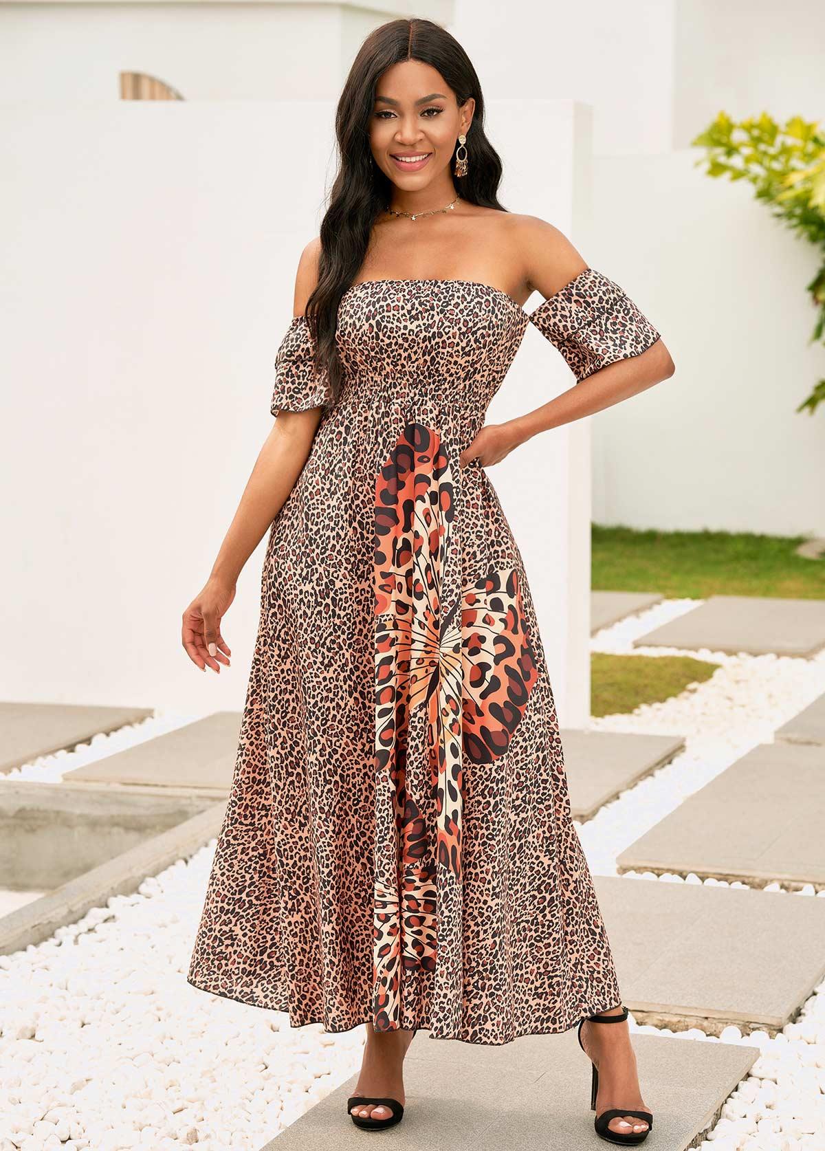 Off Shoulder Leopard Shirred Waist Maxi Dress