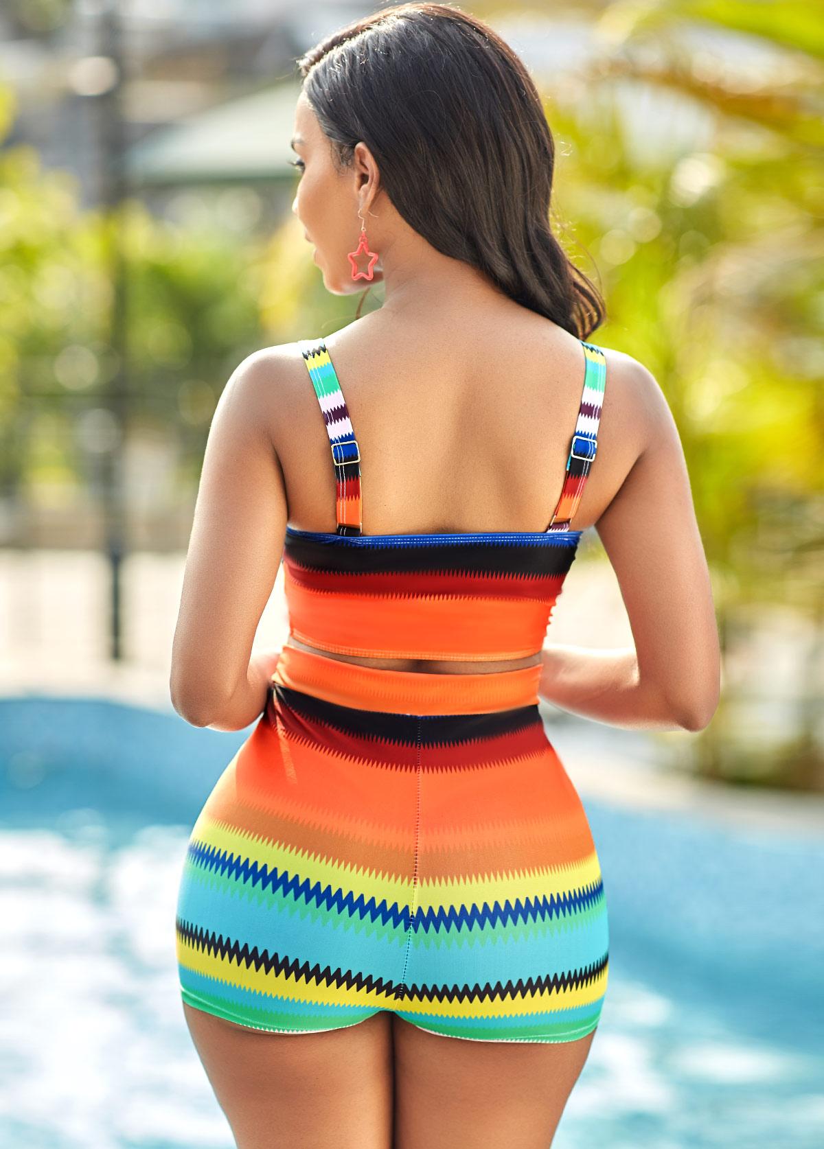 Colorful Striped High Waisted Plus Size Bikini Set