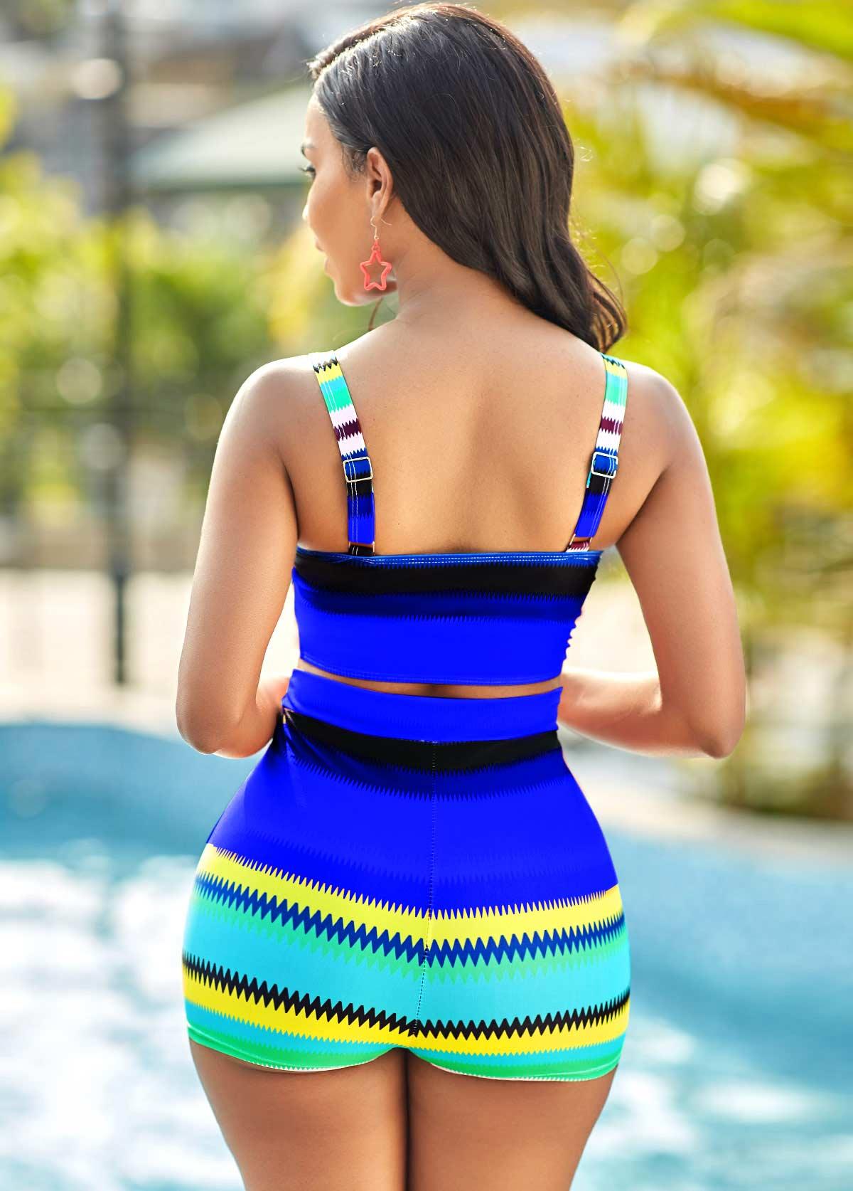 Colorful Geometric Print High Waisted Bikini Set