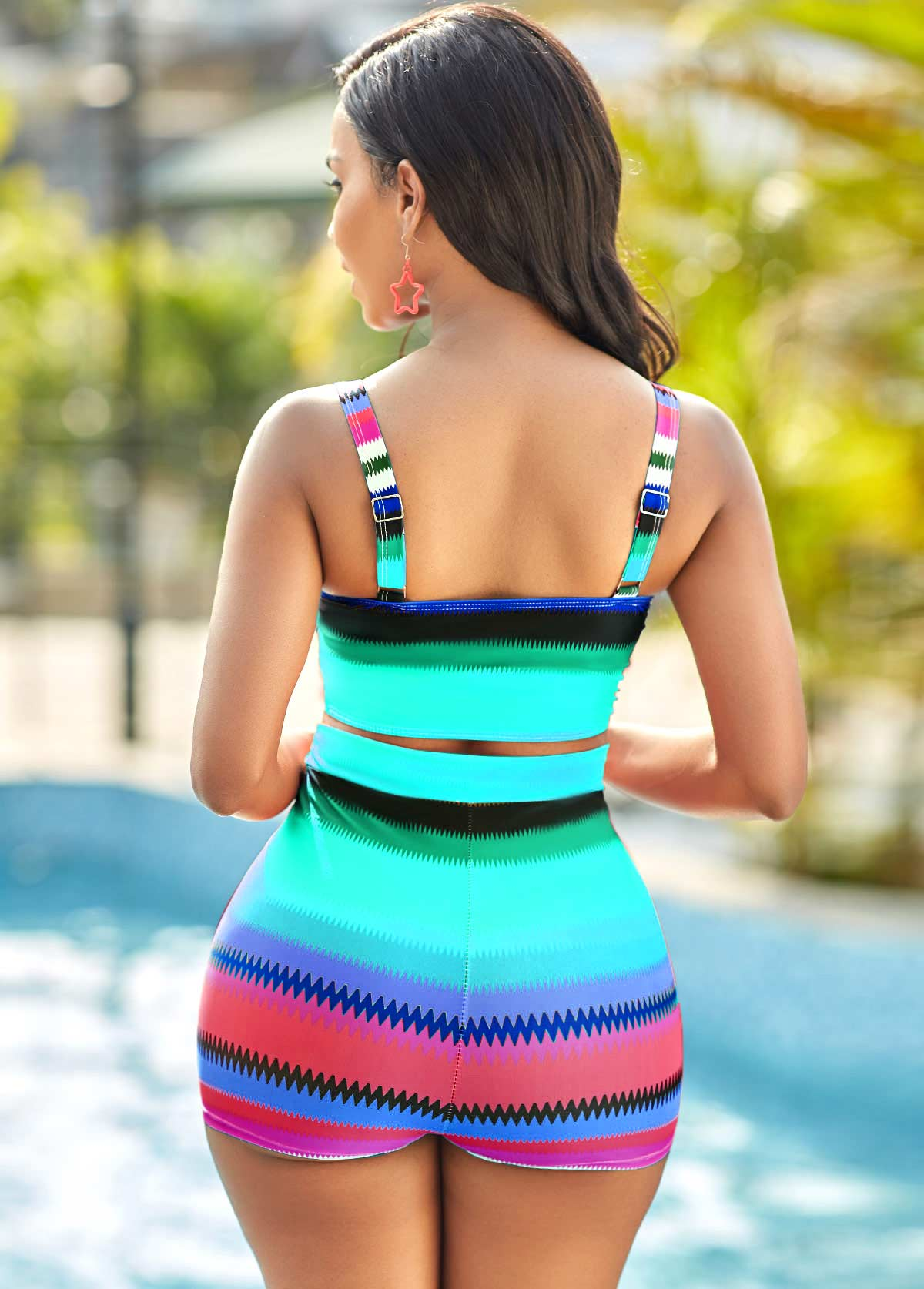 Colorful Geometric Print High Waisted Bikini Set