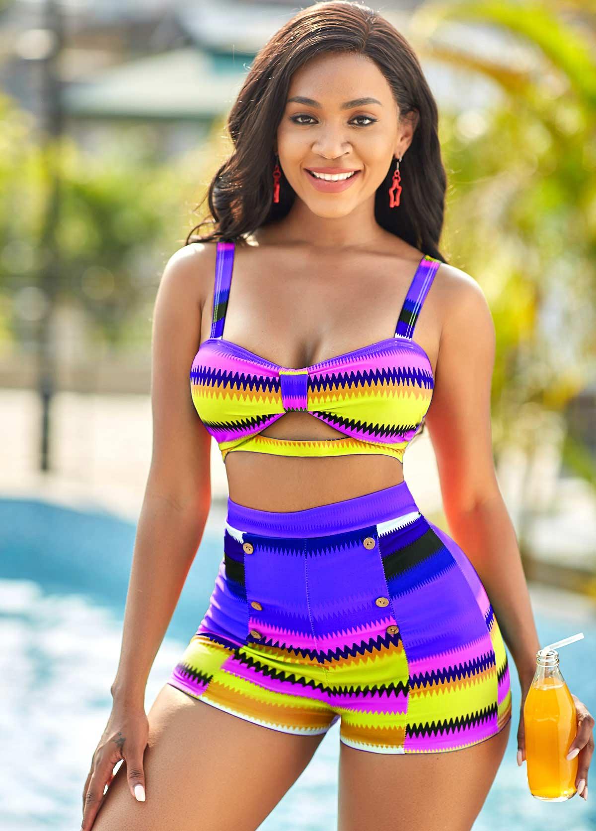 High Waisted Colorful Geometric Print Bikini Set