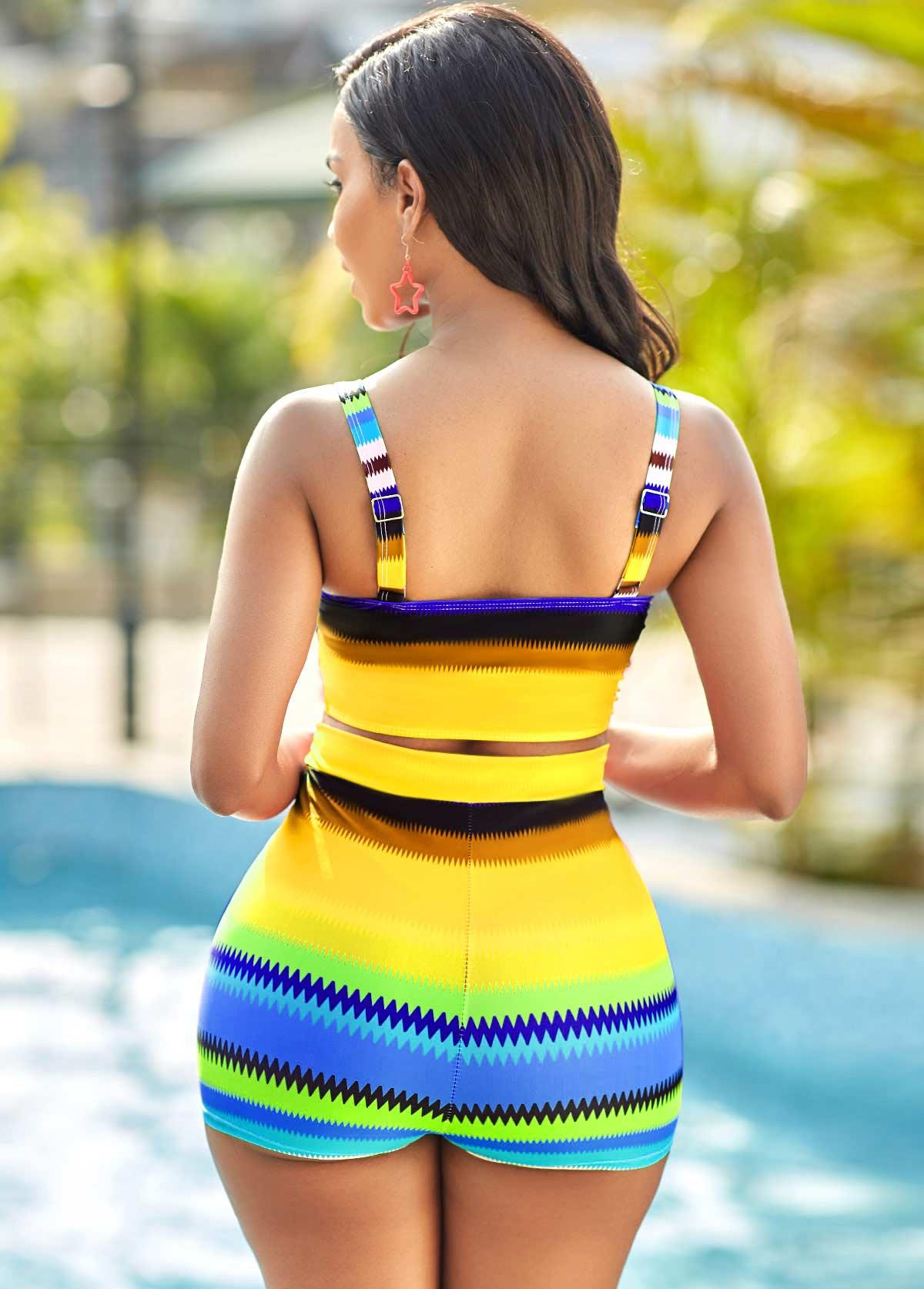 Colorful Geometric High Waisted Print Bikini Set
