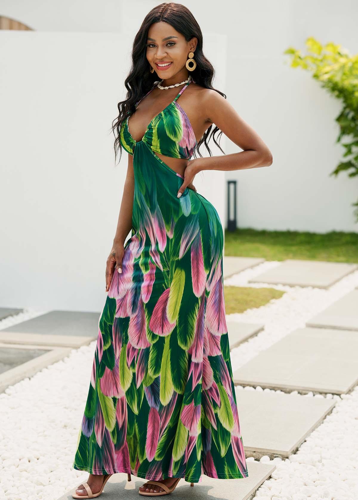 Cutout Feathers Print Halter Maxi Dress