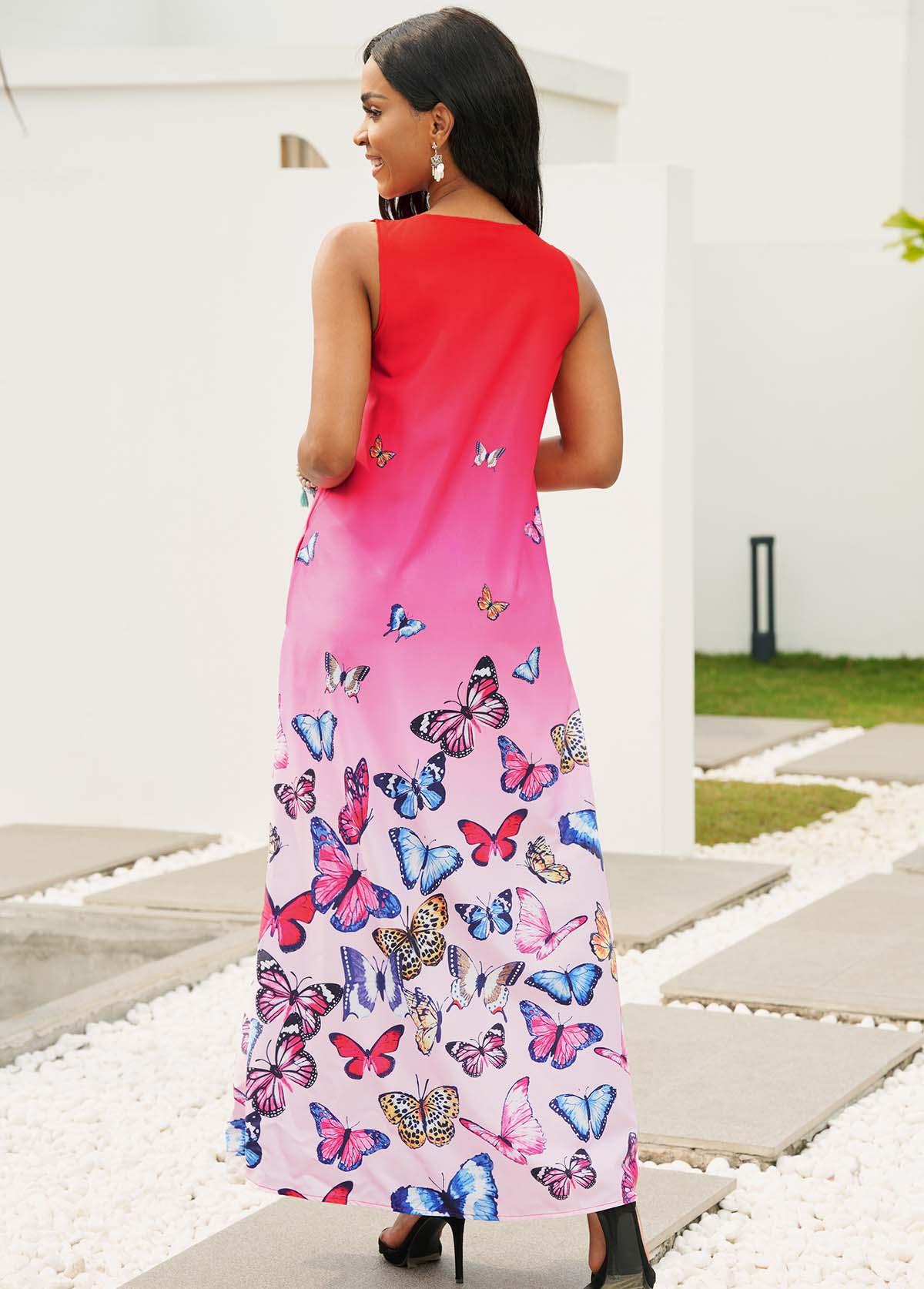 Split Neck Butterfly Print Sleeveless Maxi Dress