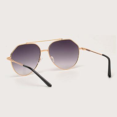 1 Pair Round Frame Metal Black Sunglasses