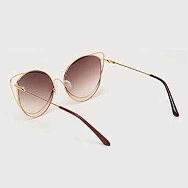 1 Pair Metal Round Frame Brown Sunglasses