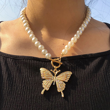 Gold Metal Pearl Detail Butterfly Pendant Necklace