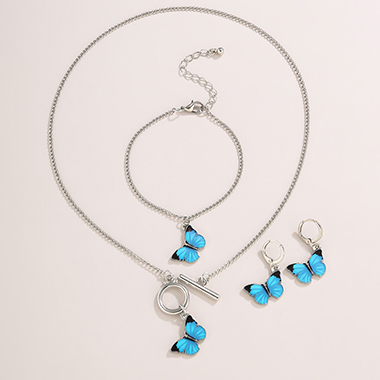Silver Metal Layered Butterfly Pendant Necklace Set