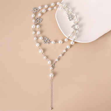 Silver Metal Layered Pearl Detail Necklace