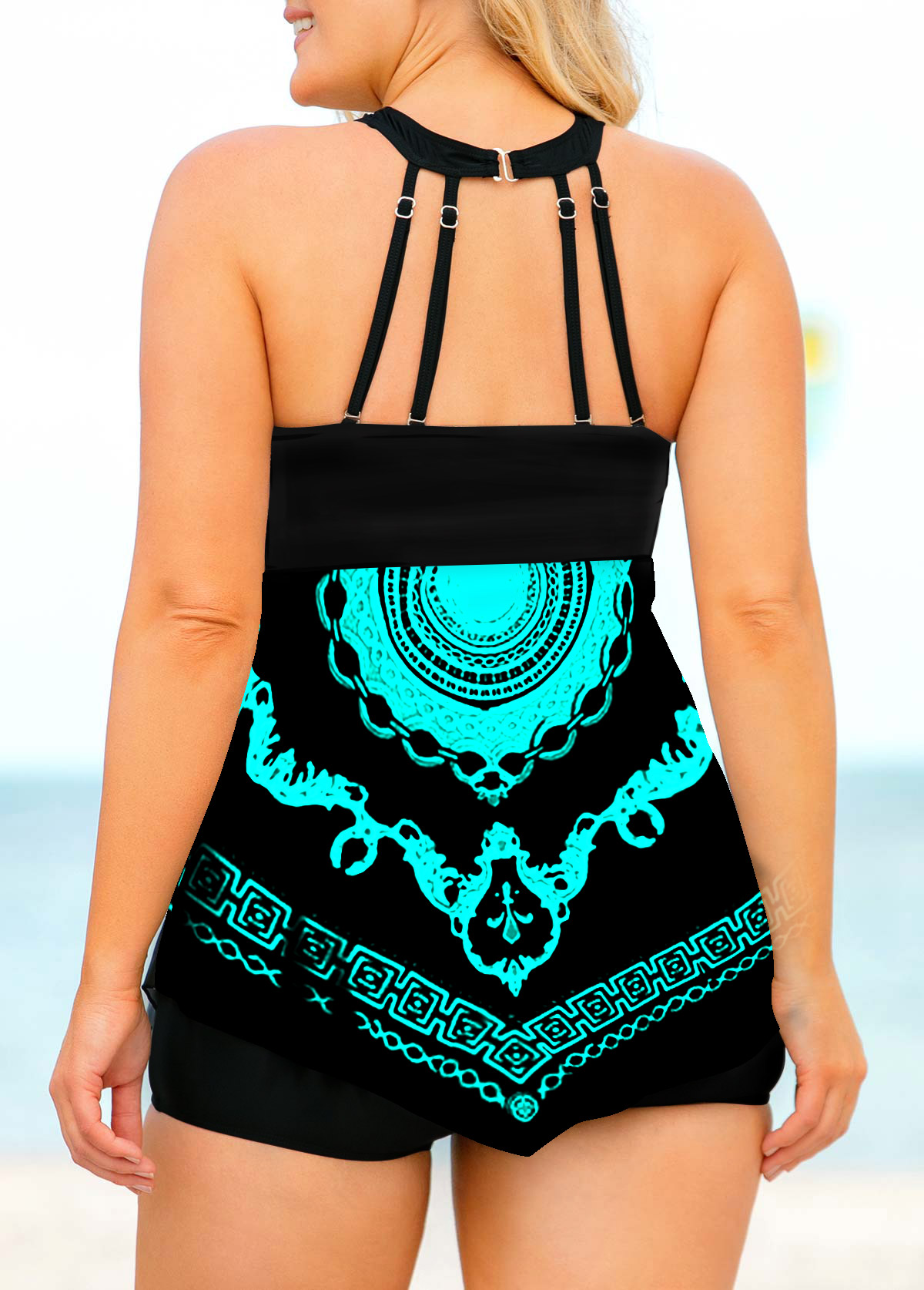 Tribal Print Bib Neck Plus Size Swimdress and Shorts