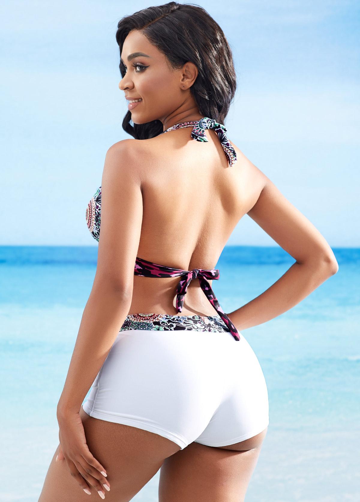 Halter Tribal Print Knot Detail Bikini Set