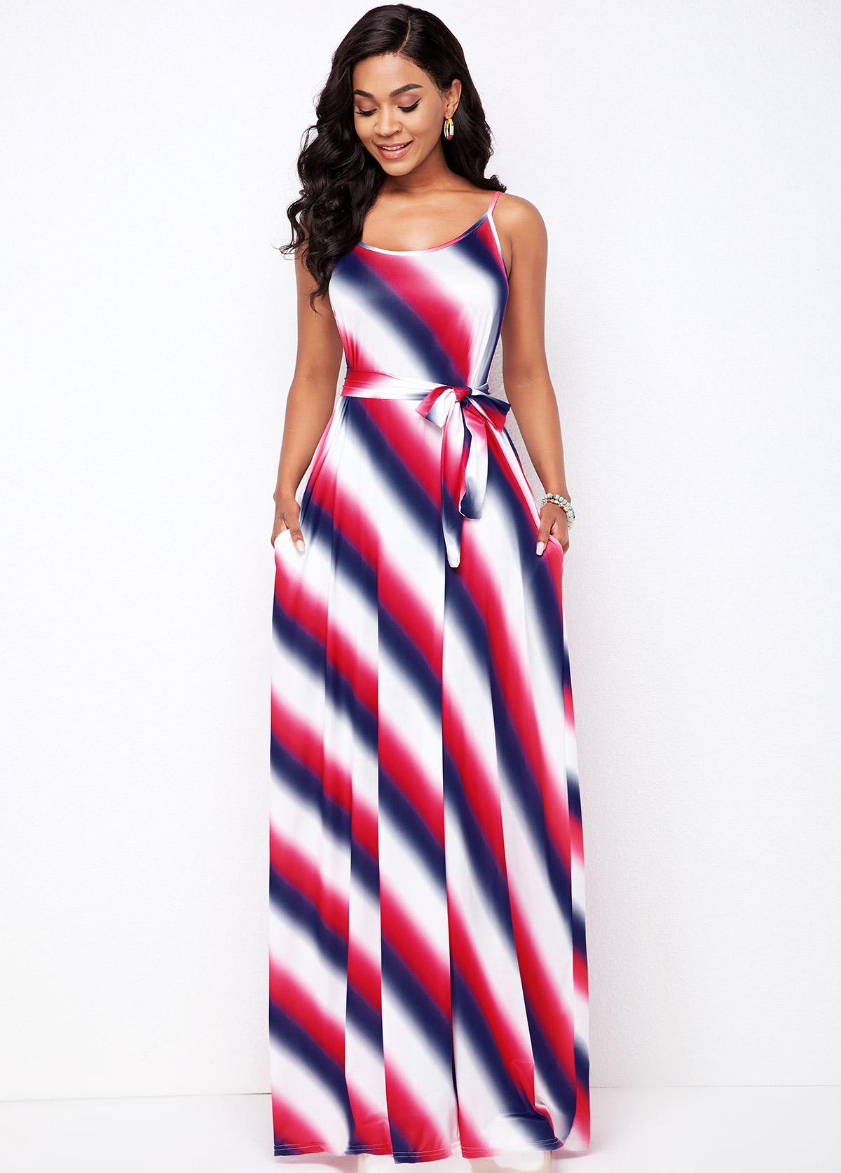 Pocket Detail Striped Spaghetti Strap Dress