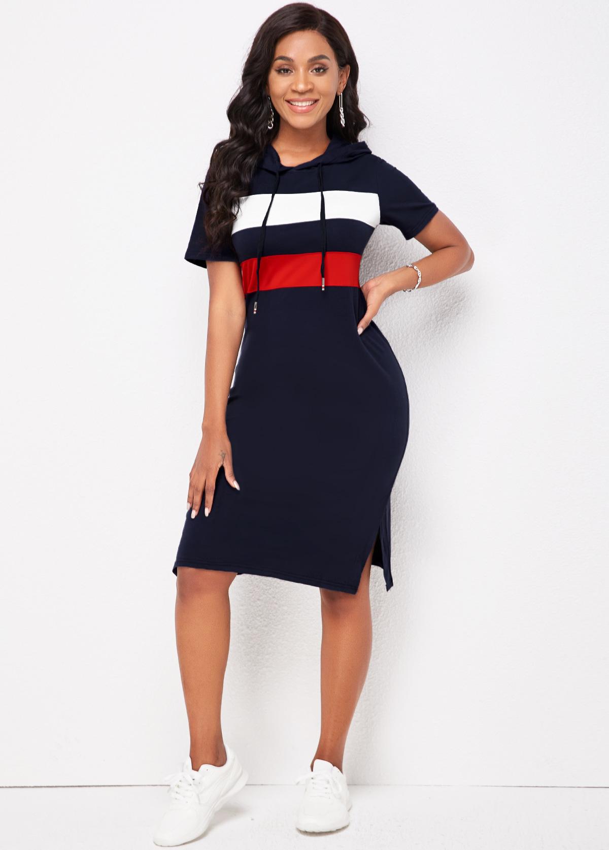 Short Sleeve Hooded Collar Striped Dress