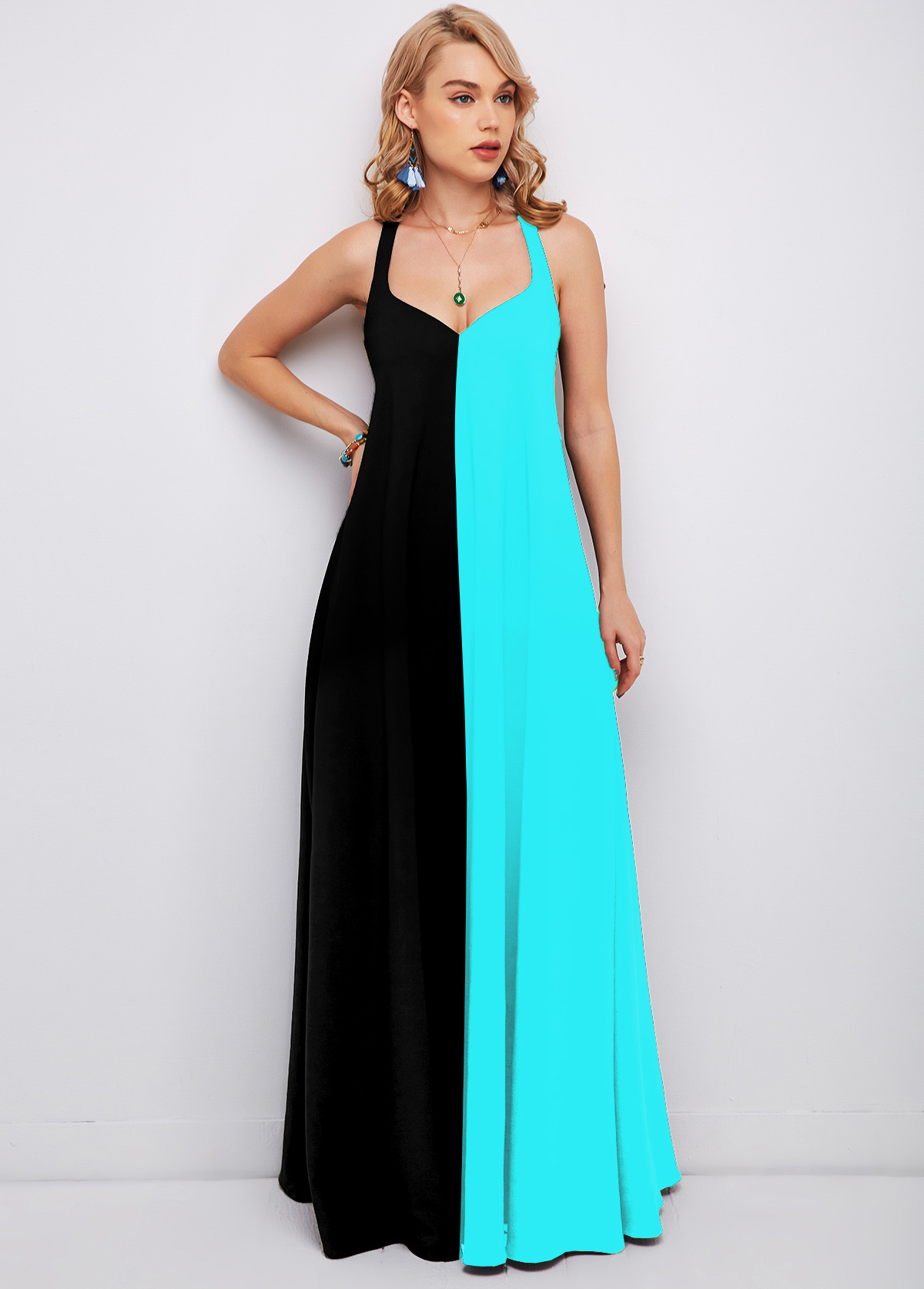 Spaghetti Strap Color Block Maxi Dress