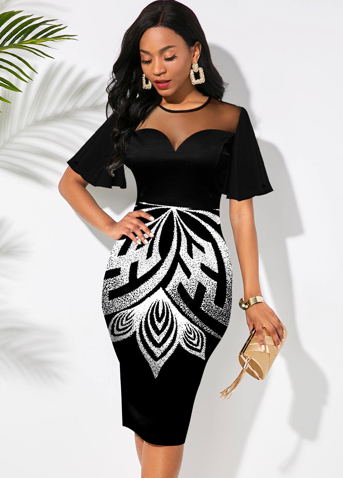 Round Neck Printed Short Sleeve Dress