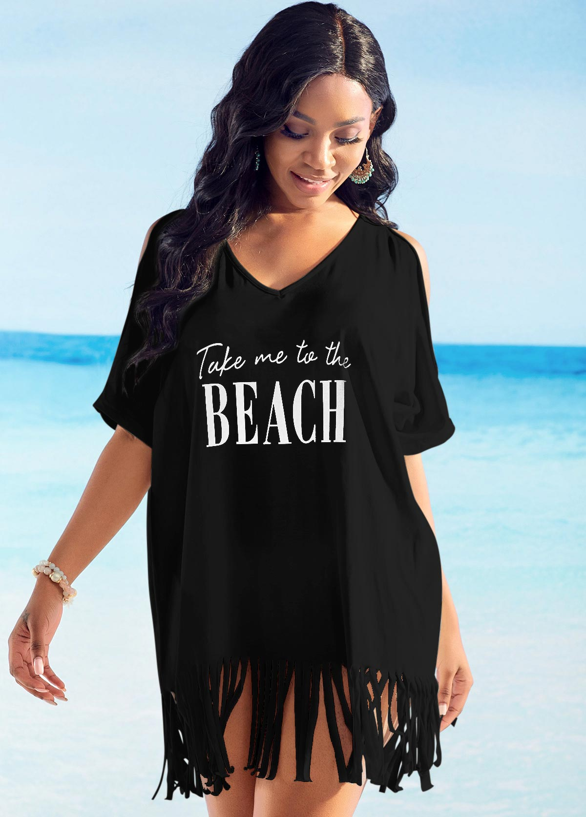 Tassel Hem Cold Shoulder Letter Print Cover Up