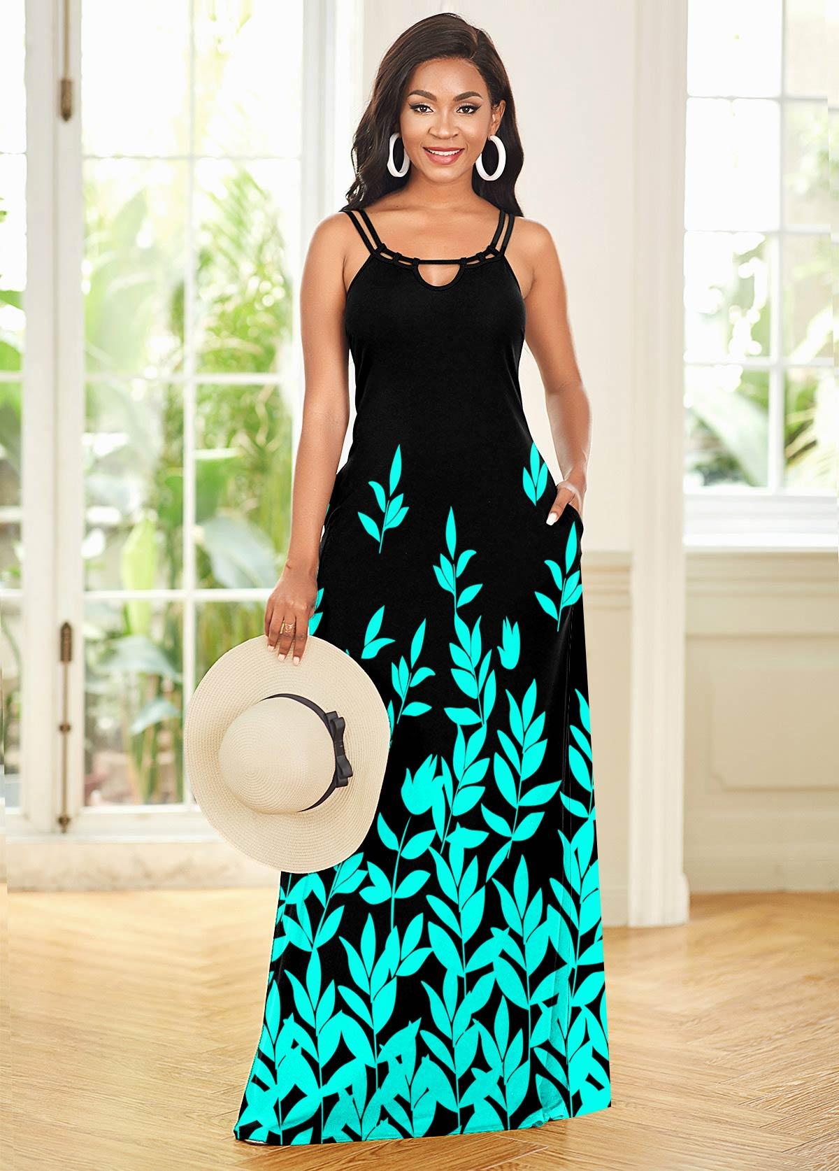 Leaf Print Double Straps Maxi Dress