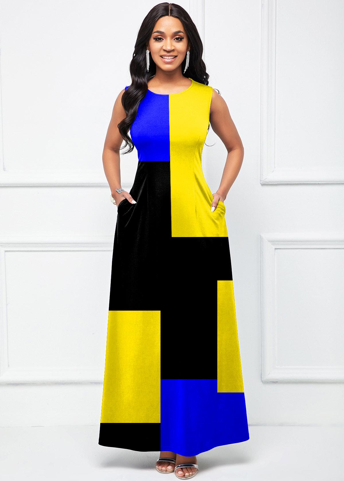 Round Neck Geometric Print Sleeveless Dress