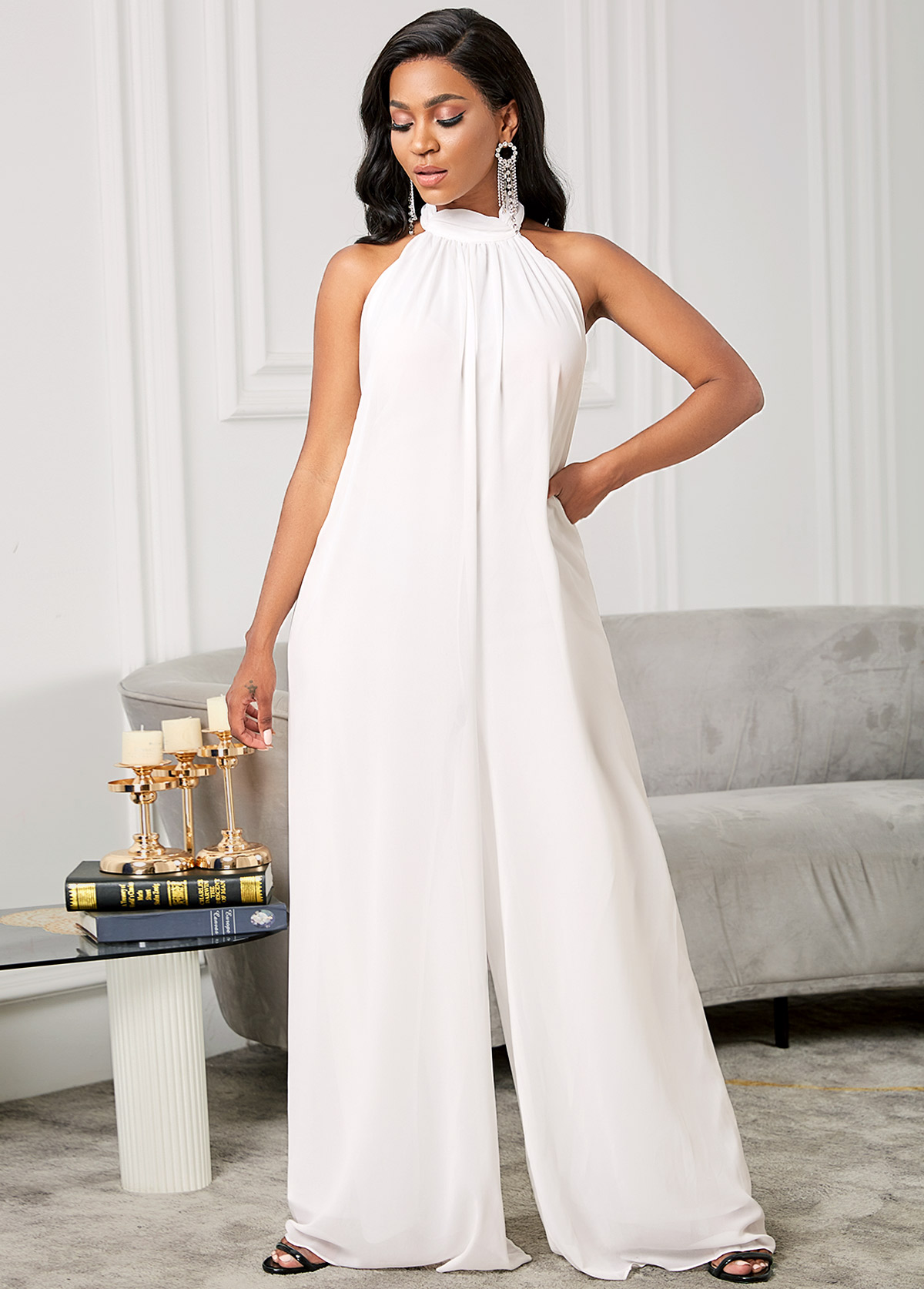 Loose Open Back Chiffon Solid Jumpsuit